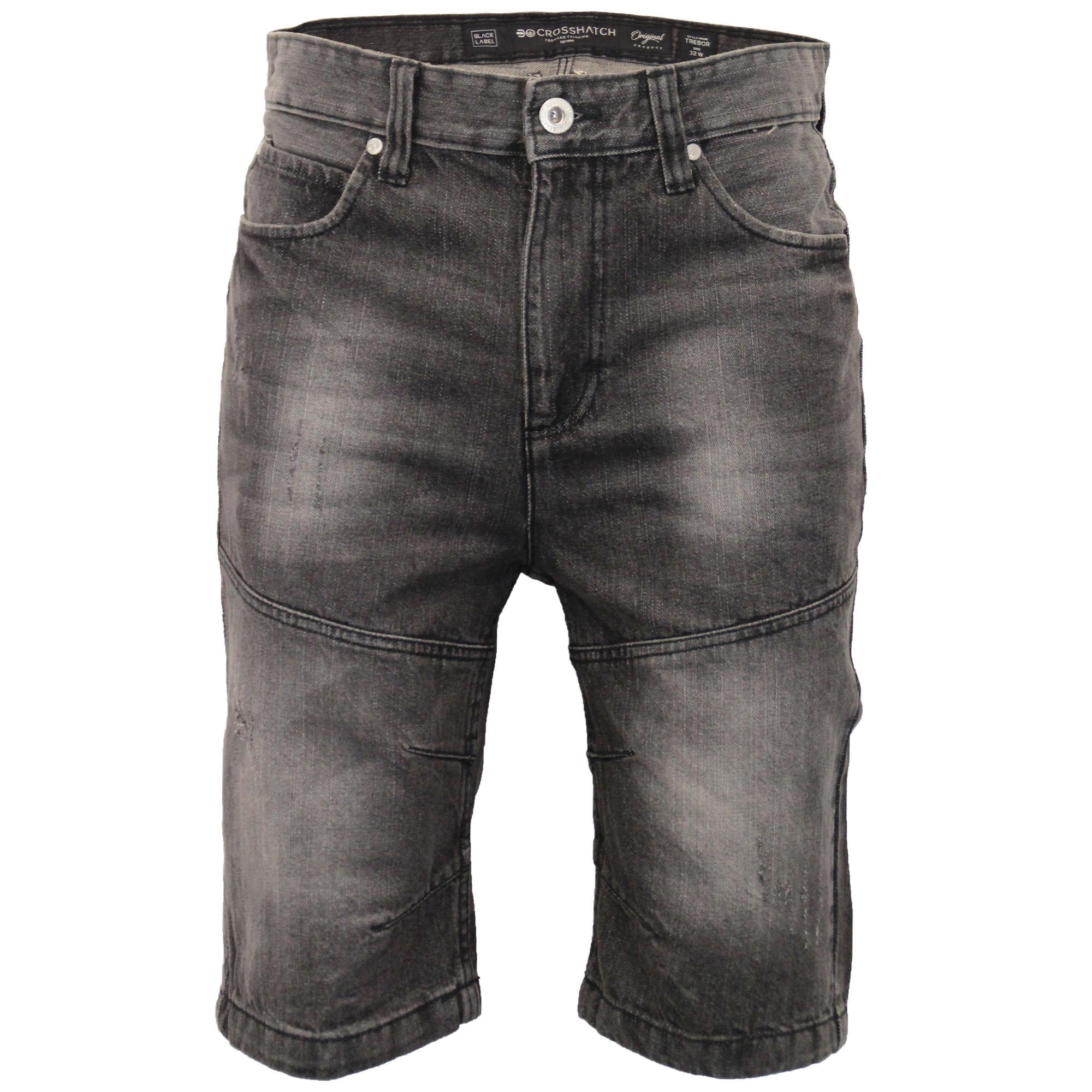 Mens-Crosshatch-Denim-Knee-Length-Combat-Shorts-Cargo-Casual-Fashion-Summer-New 縮圖 8