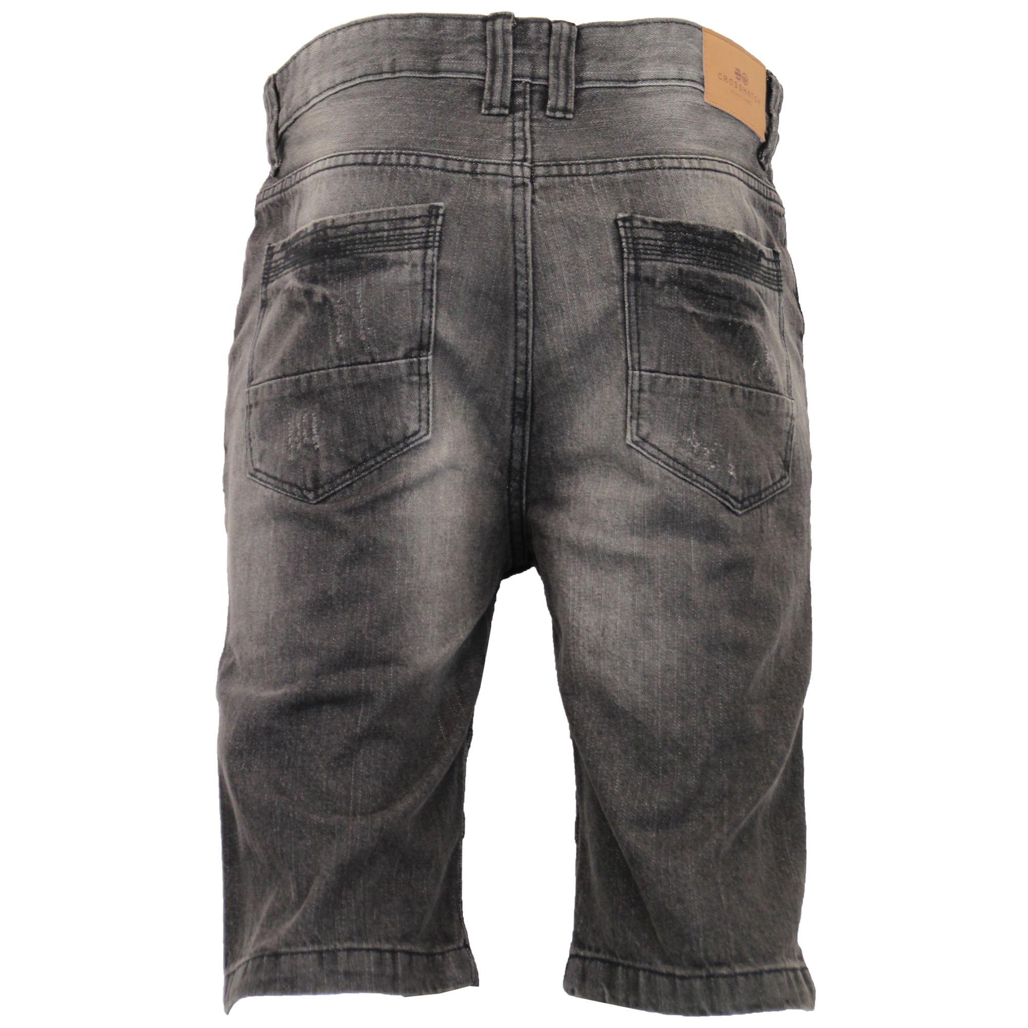 Mens-Crosshatch-Denim-Knee-Length-Combat-Shorts-Cargo-Casual-Fashion-Summer-New 縮圖 9
