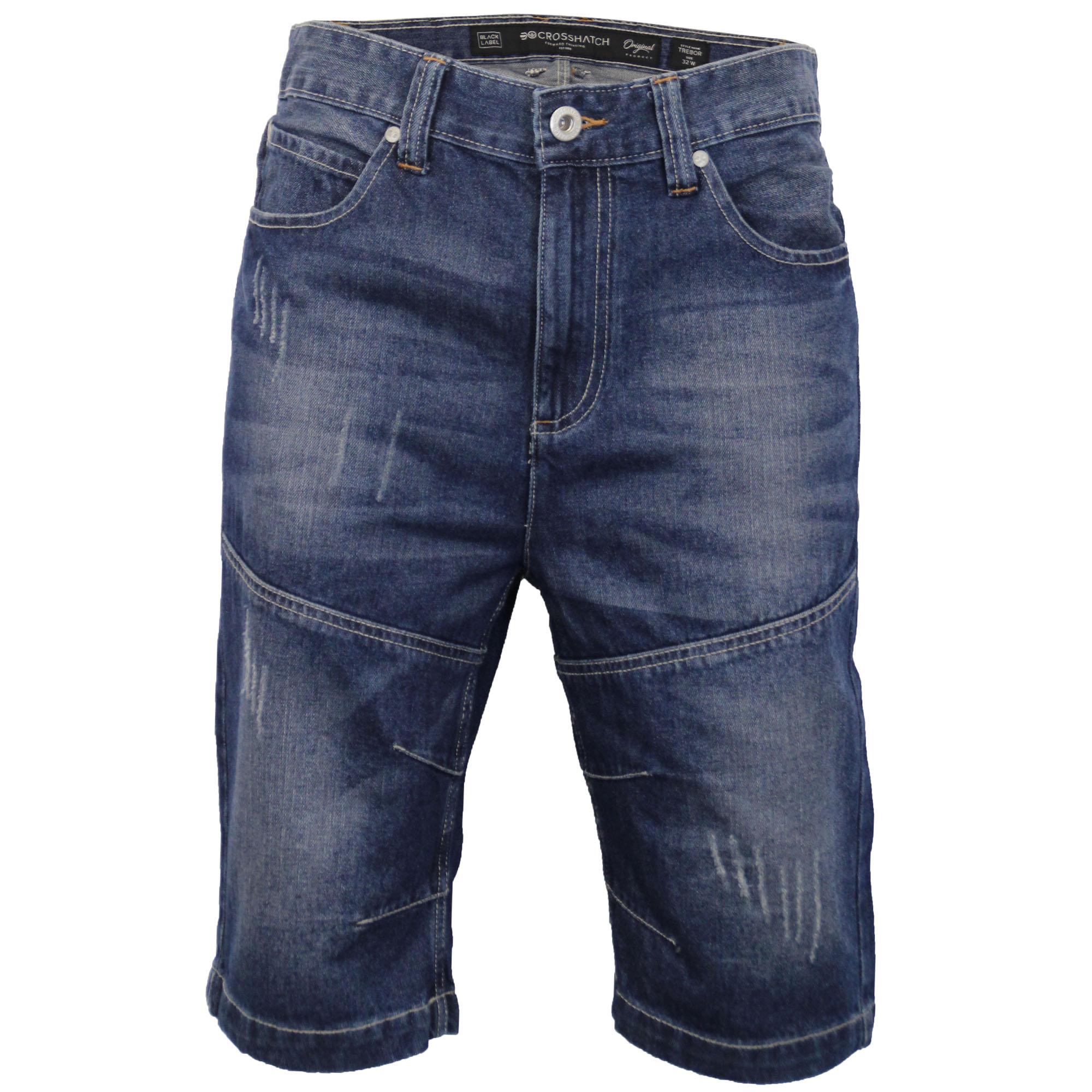 Mens-Crosshatch-Denim-Knee-Length-Combat-Shorts-Cargo-Casual-Fashion-Summer-New 縮圖 17