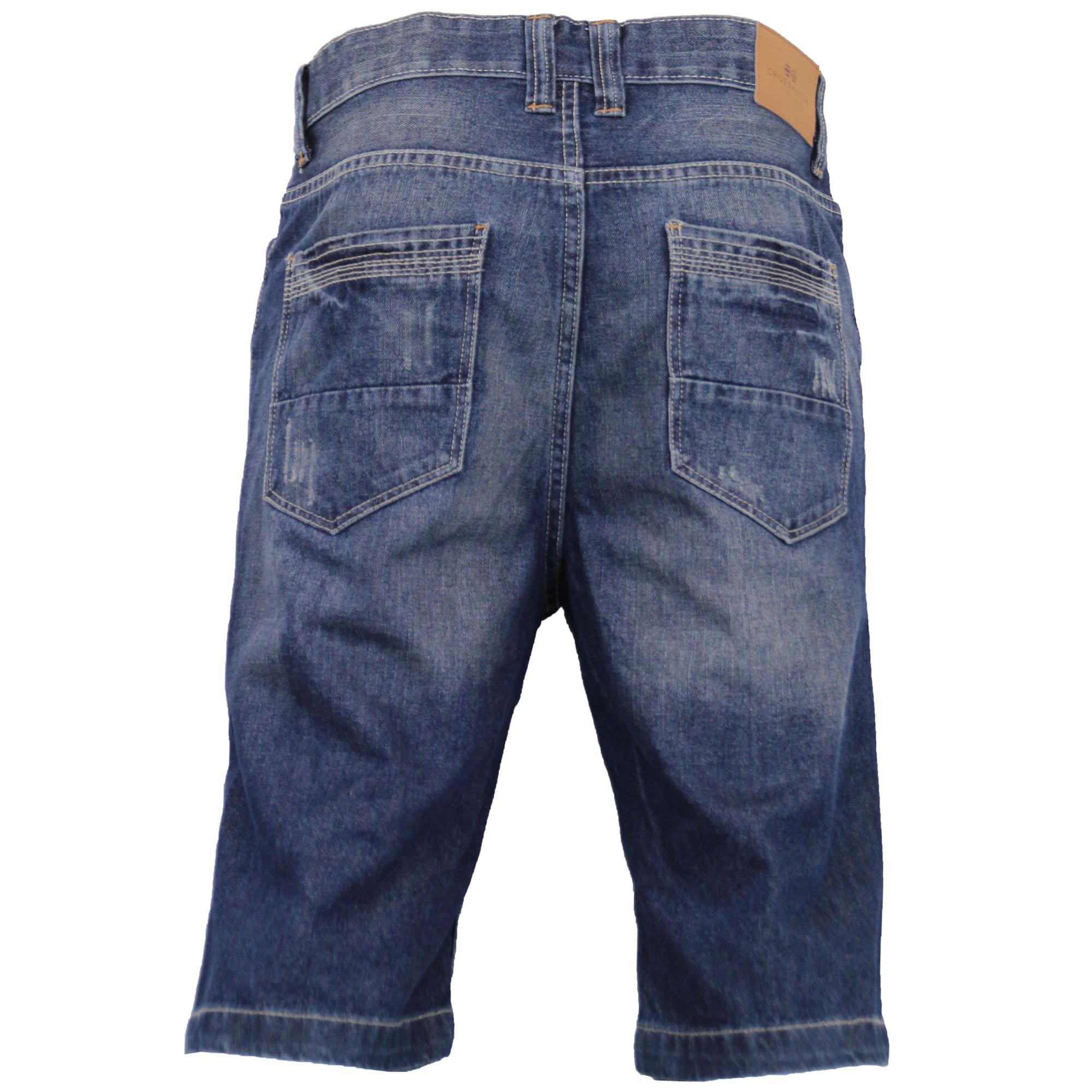 Mens-Crosshatch-Denim-Knee-Length-Combat-Shorts-Cargo-Casual-Fashion-Summer-New 縮圖 18
