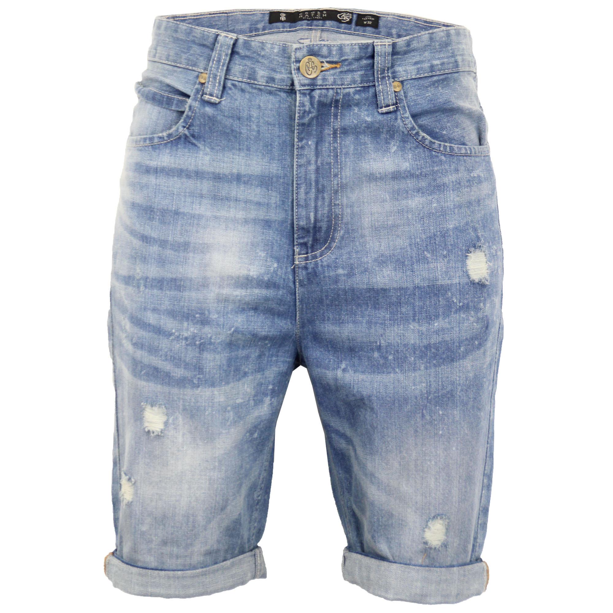 Mens-Crosshatch-Denim-Knee-Length-Combat-Shorts-Cargo-Casual-Fashion-Summer-New 縮圖 48