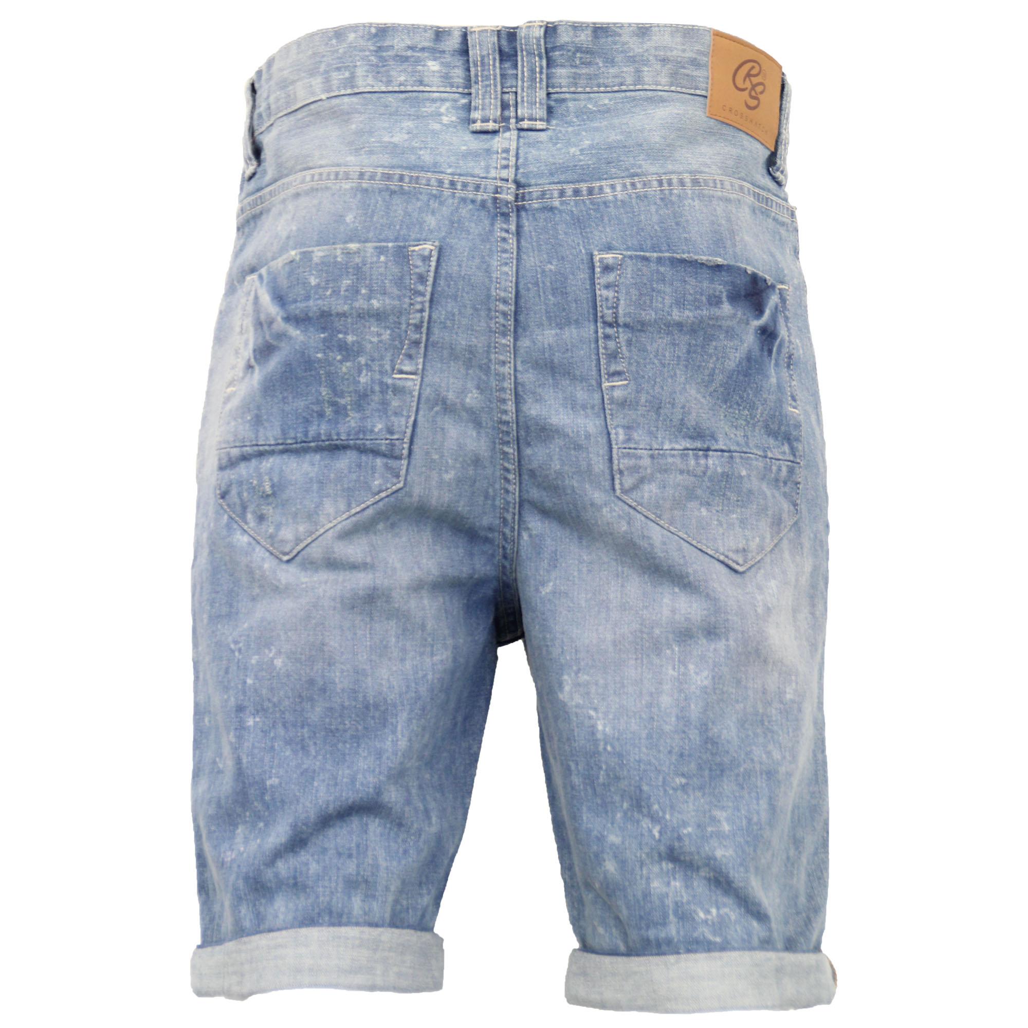 Mens-Crosshatch-Denim-Knee-Length-Combat-Shorts-Cargo-Casual-Fashion-Summer-New 縮圖 49