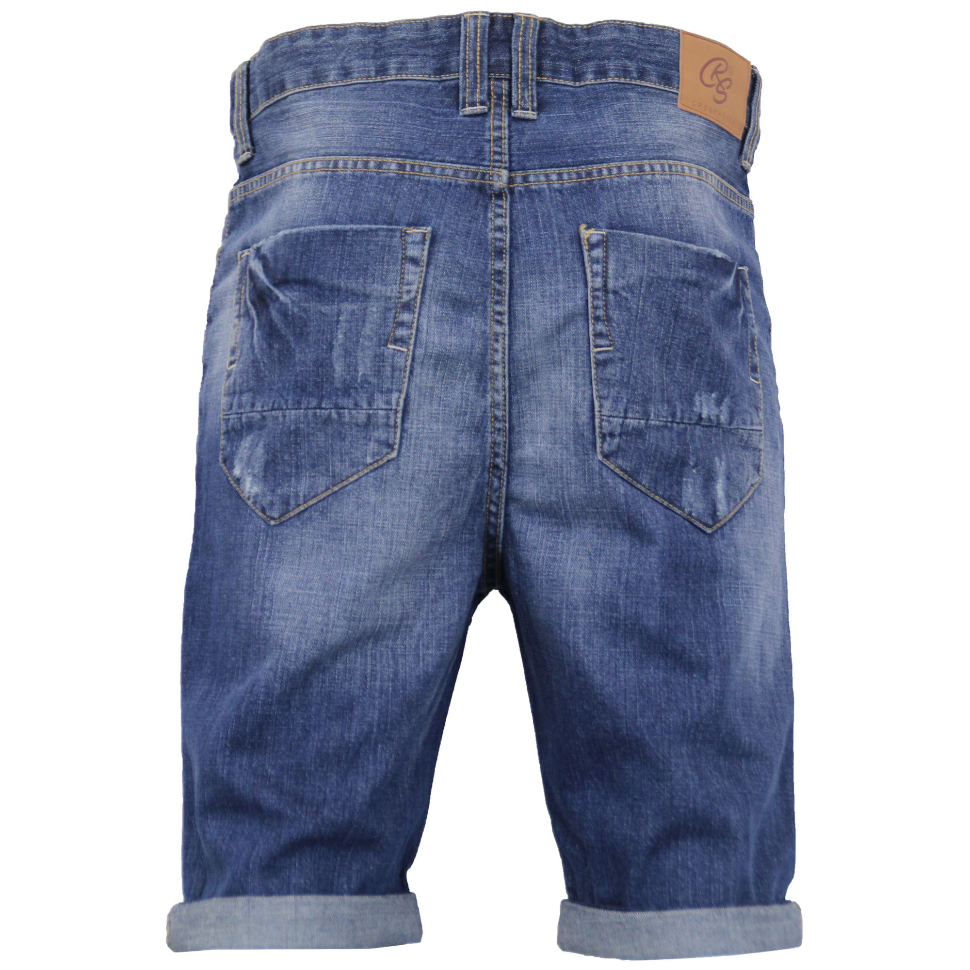 Mens-Crosshatch-Denim-Knee-Length-Combat-Shorts-Cargo-Casual-Fashion-Summer-New 縮圖 21