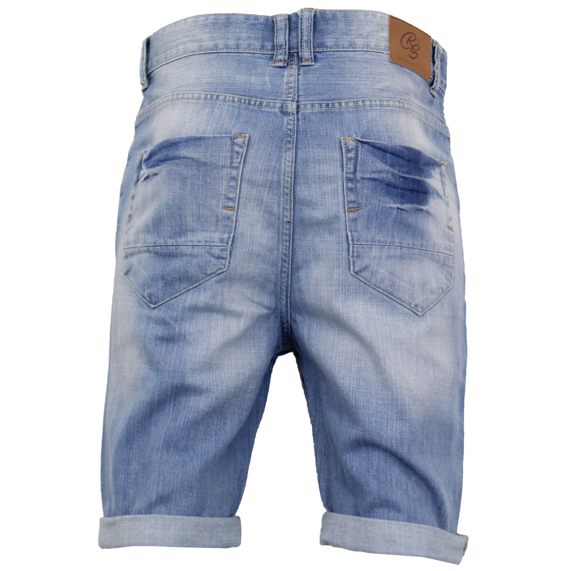 Mens-Crosshatch-Denim-Knee-Length-Combat-Shorts-Cargo-Casual-Fashion-Summer-New 縮圖 46