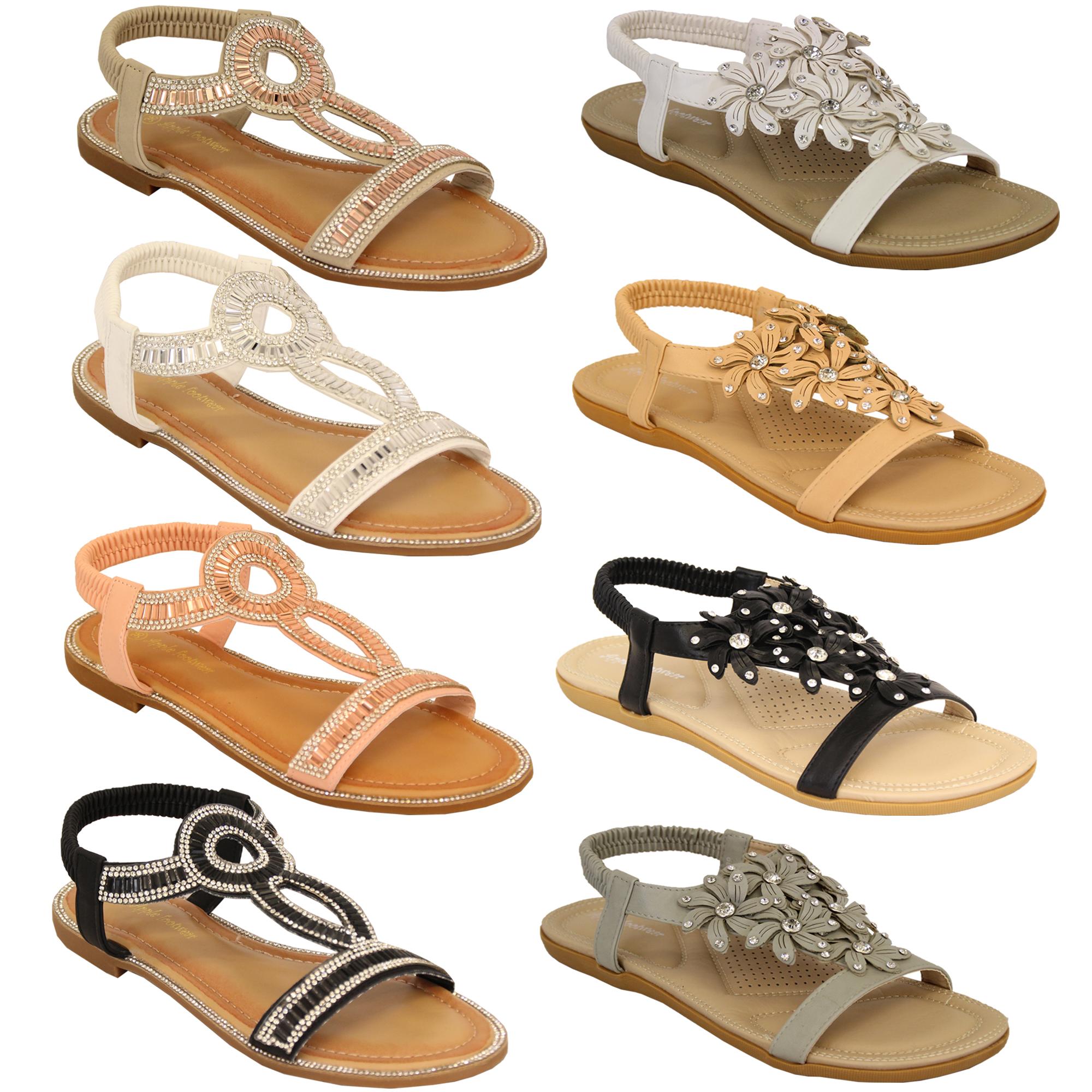 9c04ec93342a Ladies Flat Slip On Sandals Womens Diamante Sling Back Open Toe ...