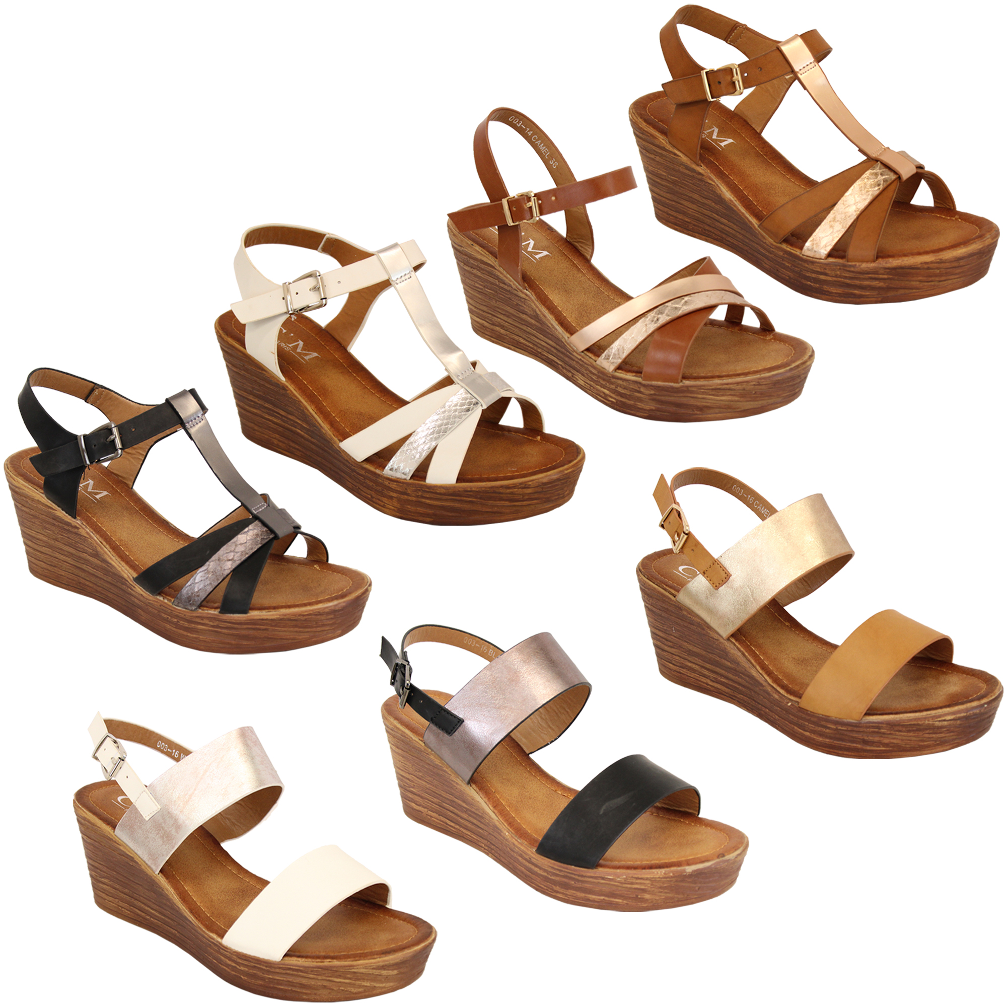Ladies-Wedge-Sandals-Womens-Strappy-Open-Toe-Shoes-Party-Fashion-Buckle-Summer thumbnail 5
