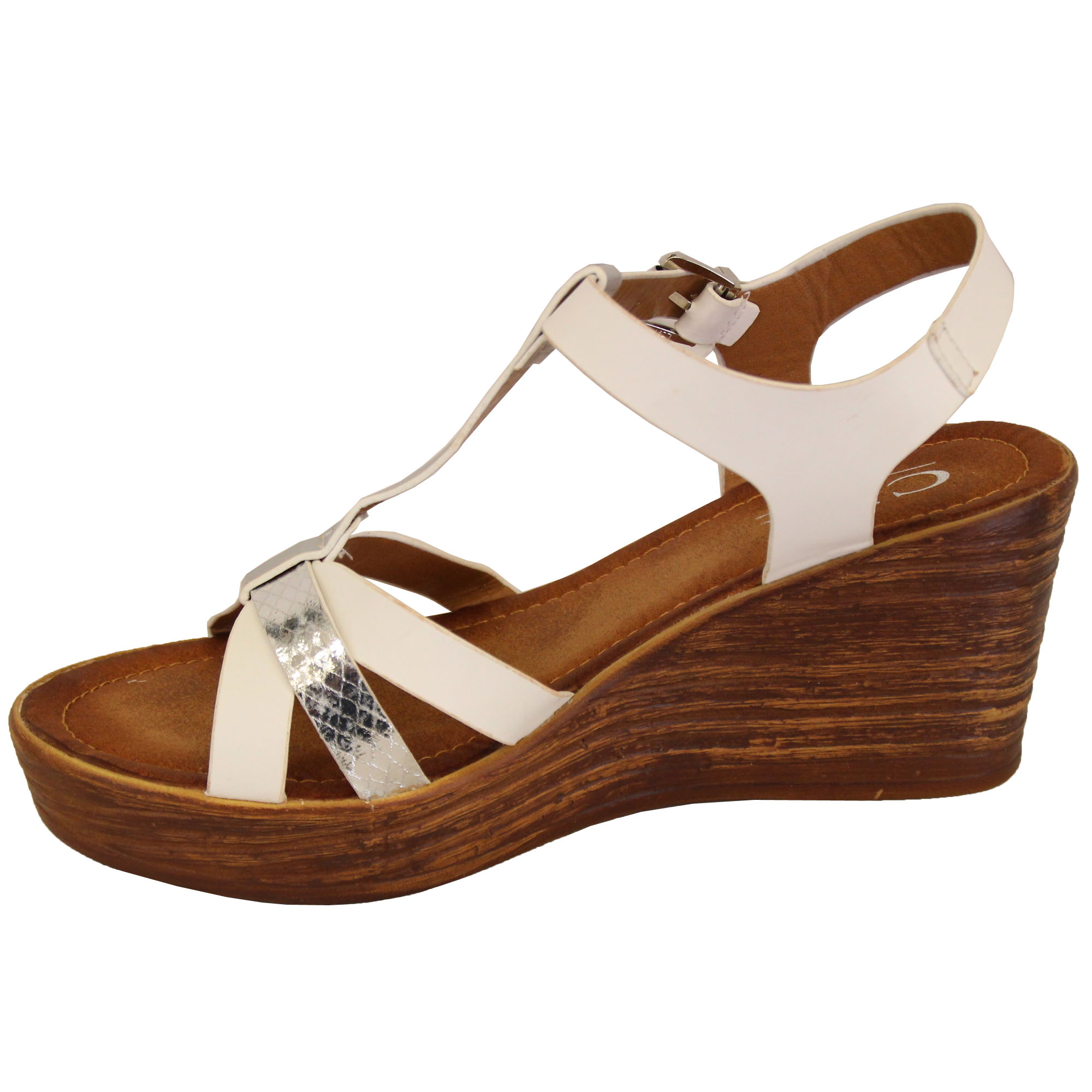 Ladies-Wedge-Sandals-Womens-Strappy-Open-Toe-Shoes-Party-Fashion-Buckle-Summer thumbnail 3