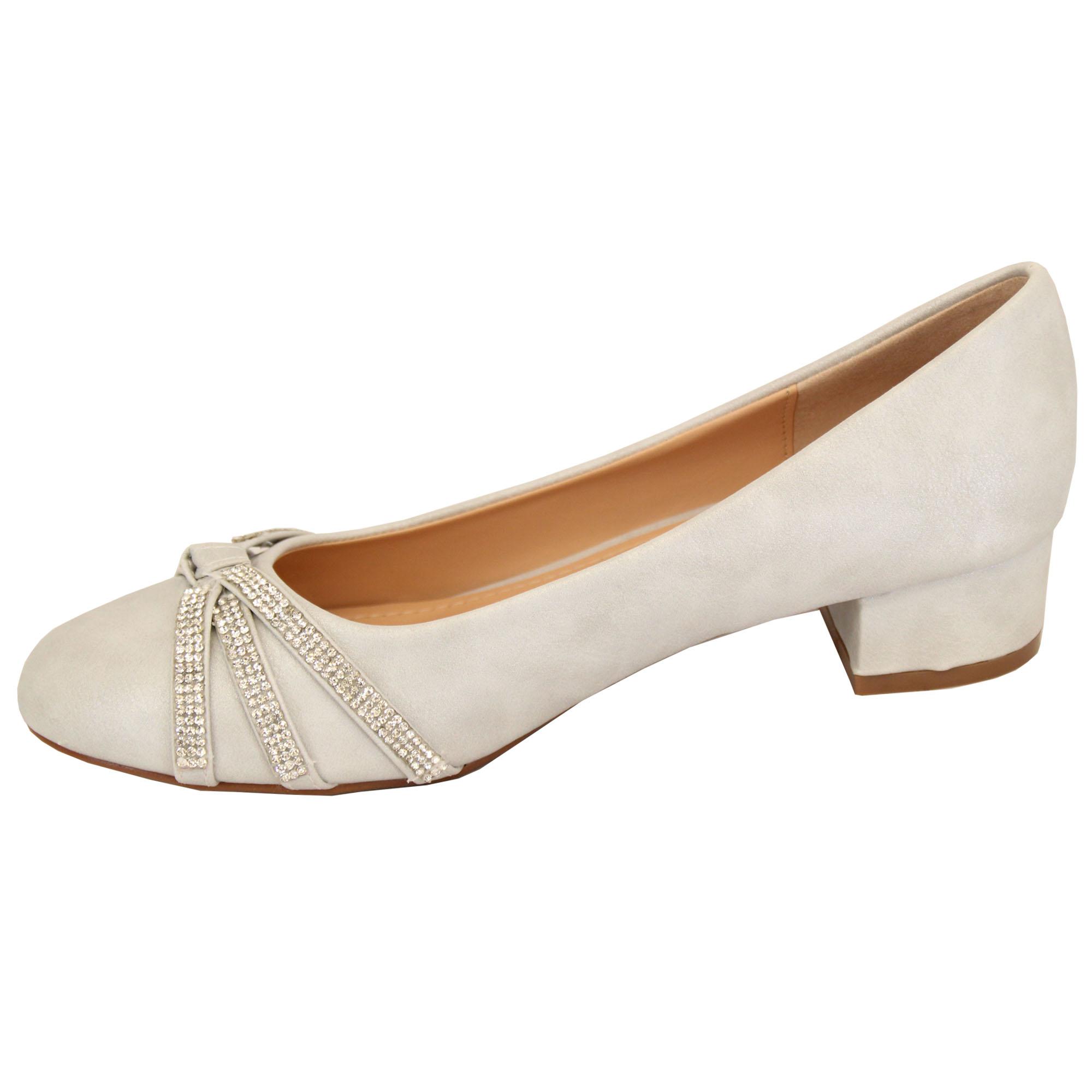 Ladies Block Heel Womens Slip On Court Shoes Diamante Pumps Fashion Summer Party