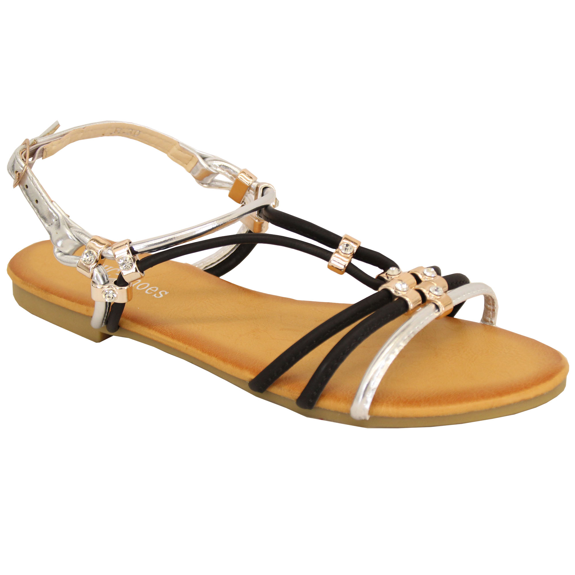 Ladies-Flat-Sandals-Womens-Slip-On-Open-Toe-Buckle-Diamante-Shoes-Fashion-Party thumbnail 5