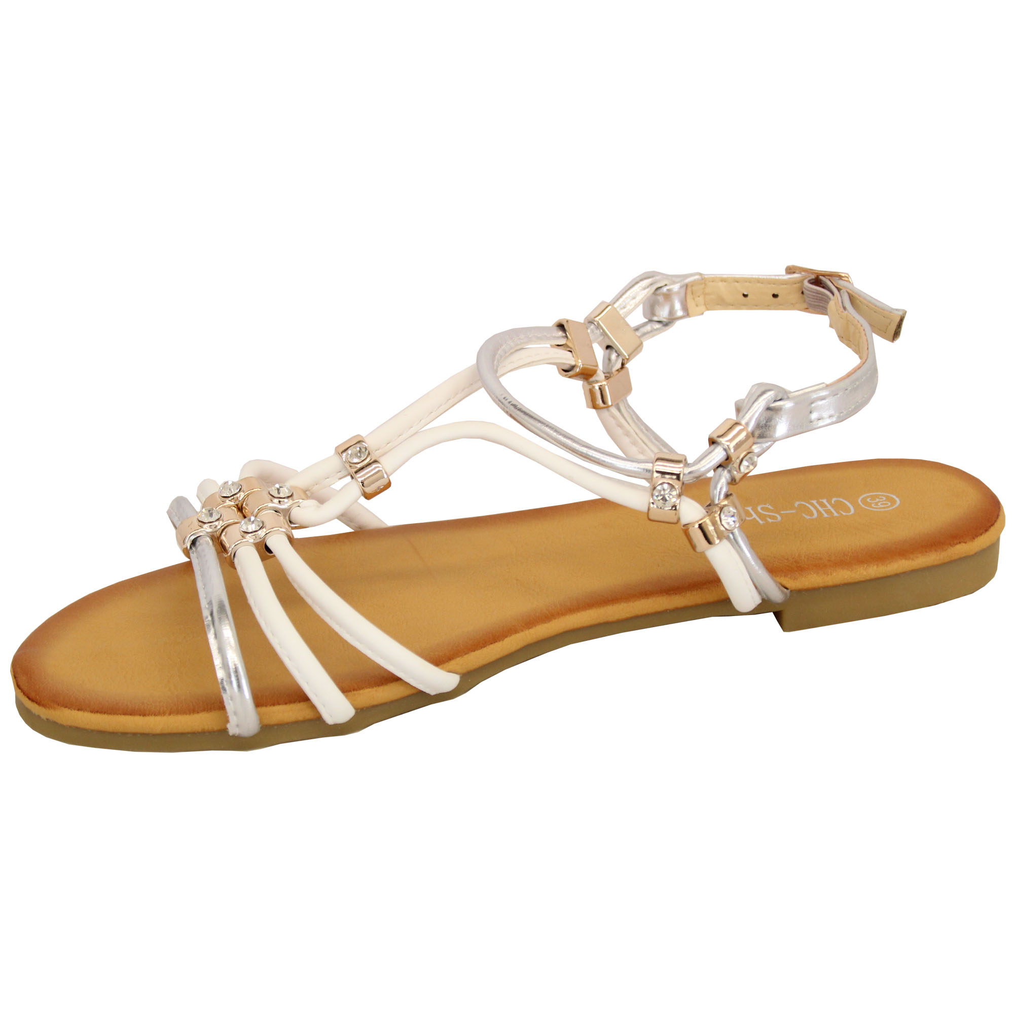 Ladies-Flat-Sandals-Womens-Slip-On-Open-Toe-Buckle-Diamante-Shoes-Fashion-Party thumbnail 13