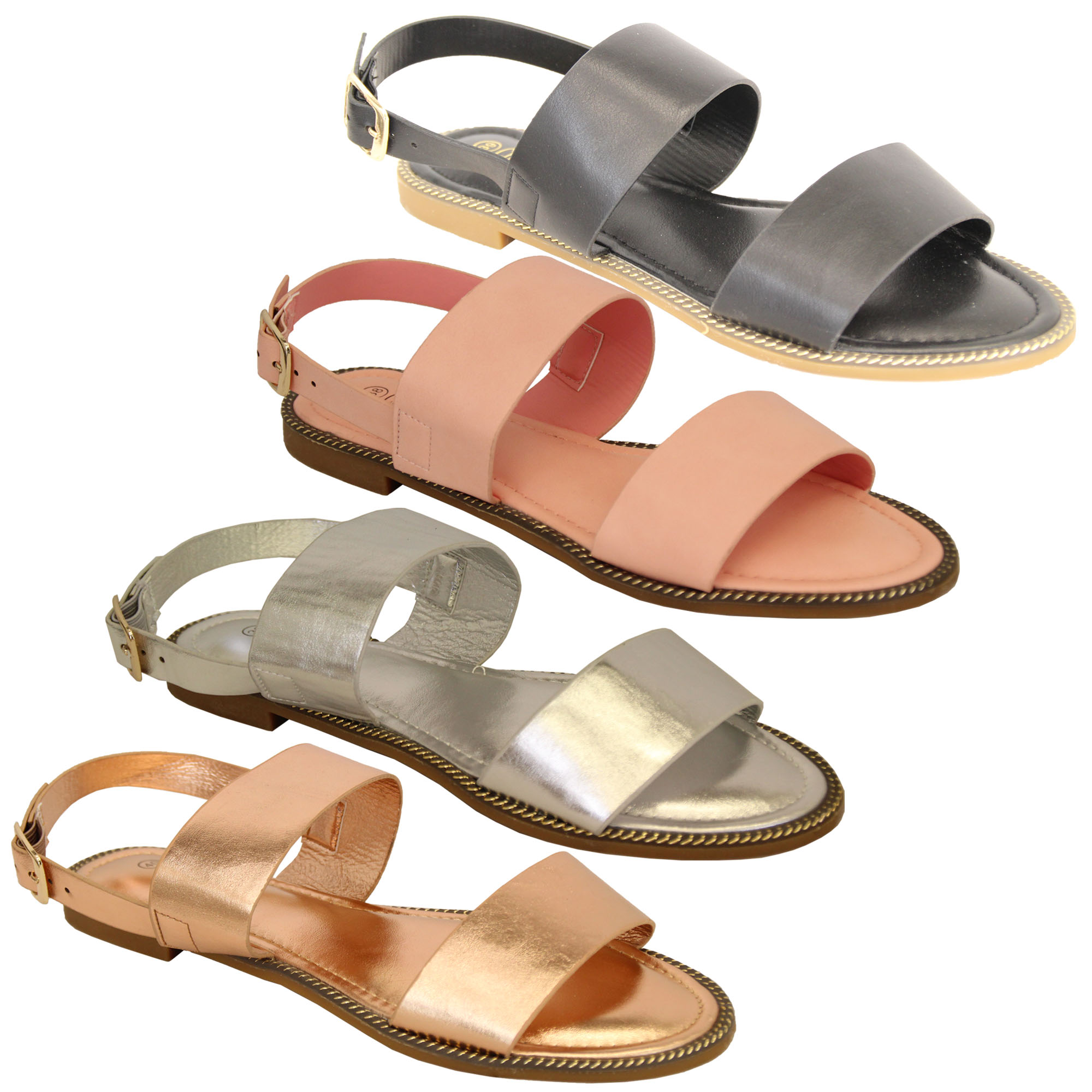 Ladies-Flat-Sandals-Slip-On-Womens-Open-Toe-Shoes-Buckle-Fashion-Wedding-Summer thumbnail 5