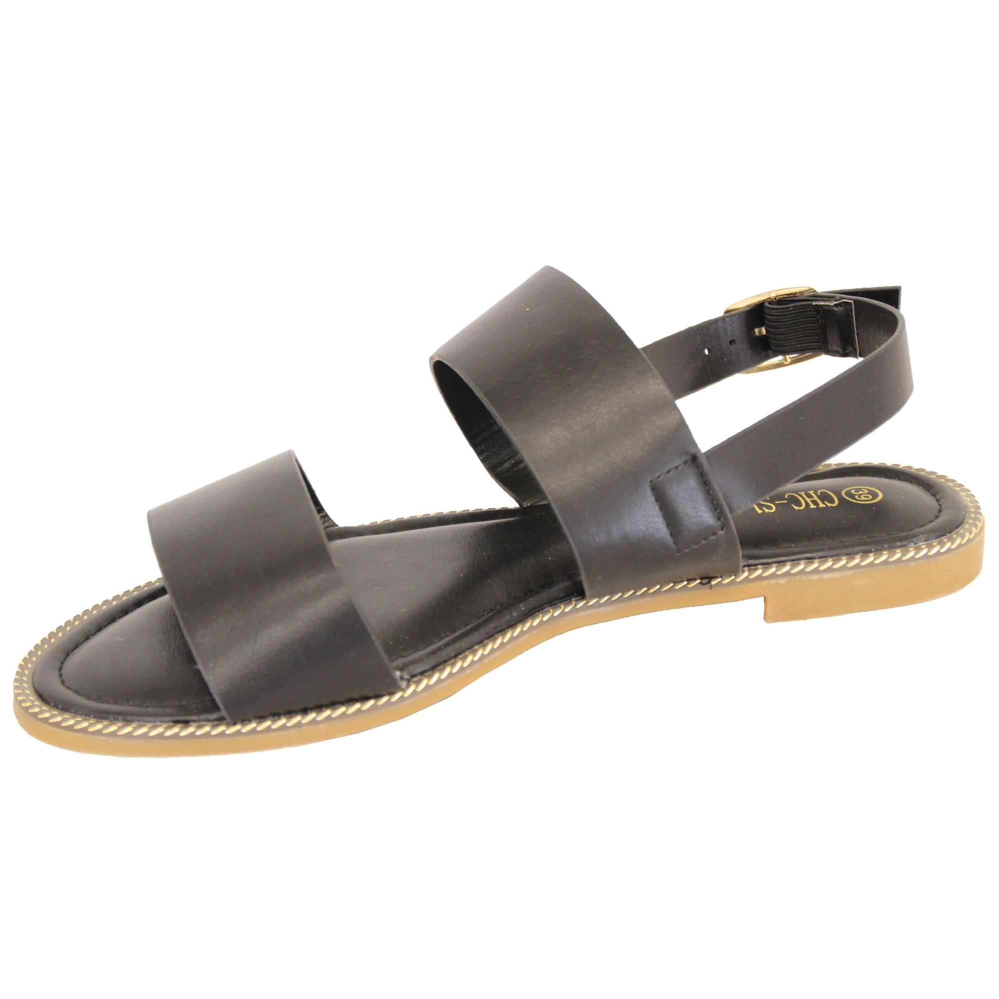 Ladies-Flat-Sandals-Slip-On-Womens-Open-Toe-Shoes-Buckle-Fashion-Wedding-Summer thumbnail 3