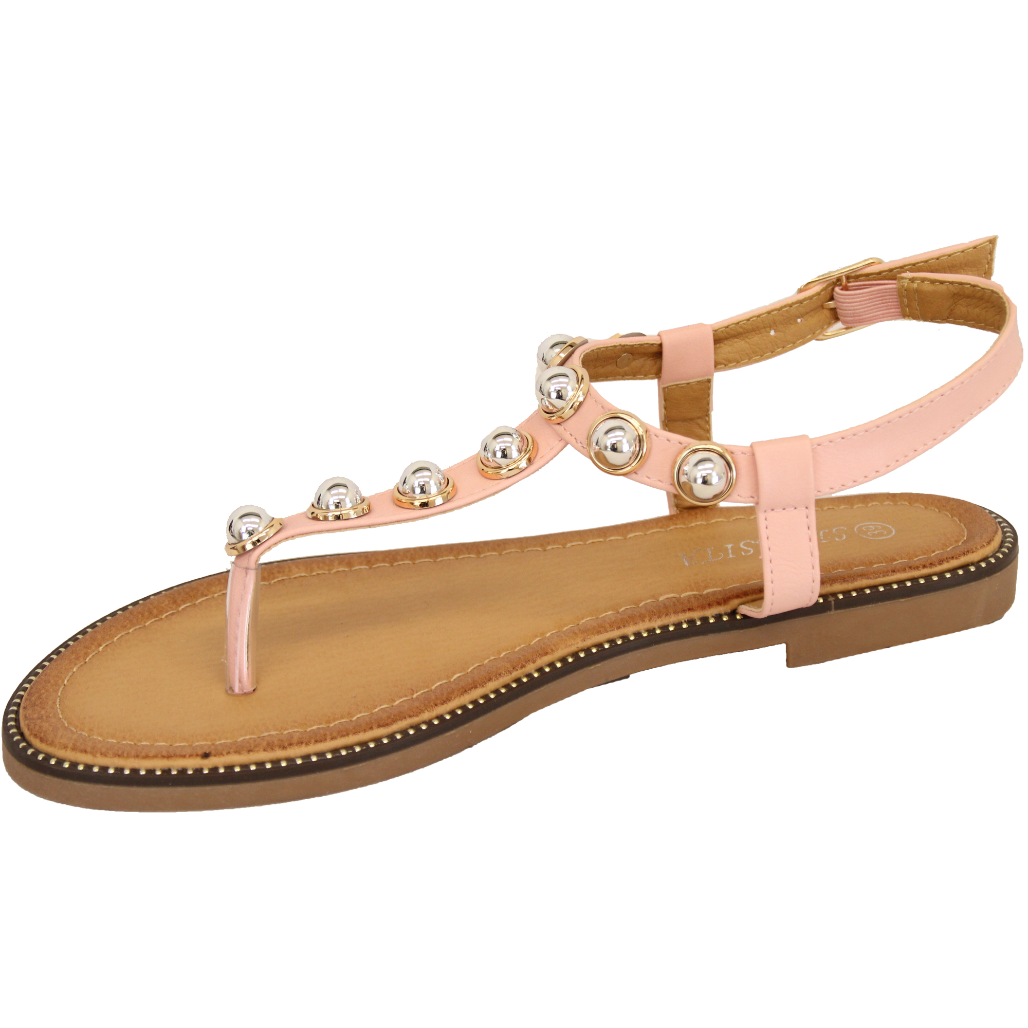 Details about Ladies Flat Sandals Womens Pearl Toe Post Buckle Shoes Fashion Summer Party New