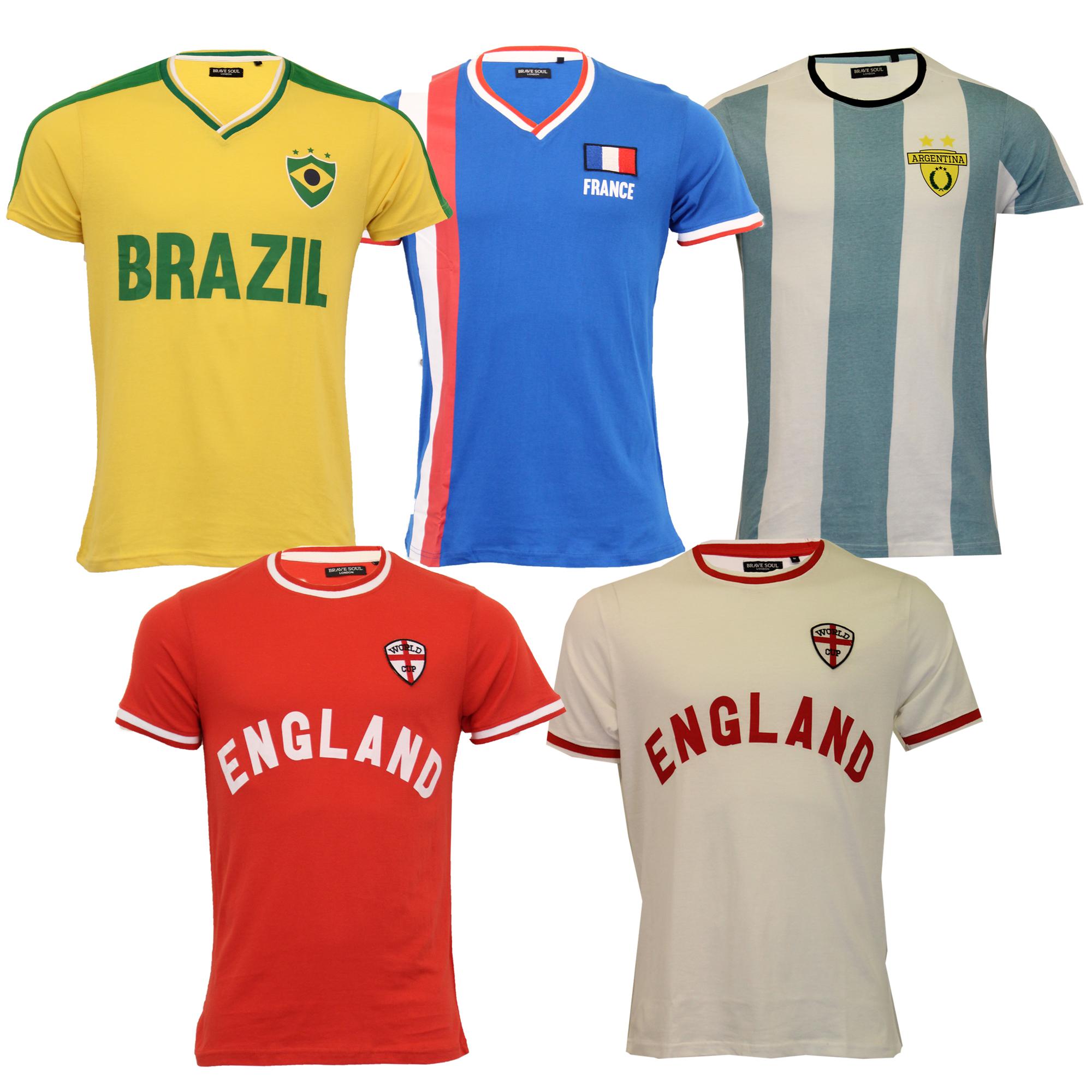 Mens-World-Cup-T-Shirt-Brave-Soul-England-Brazil-France-Argentina-Football-Print thumbnail 3