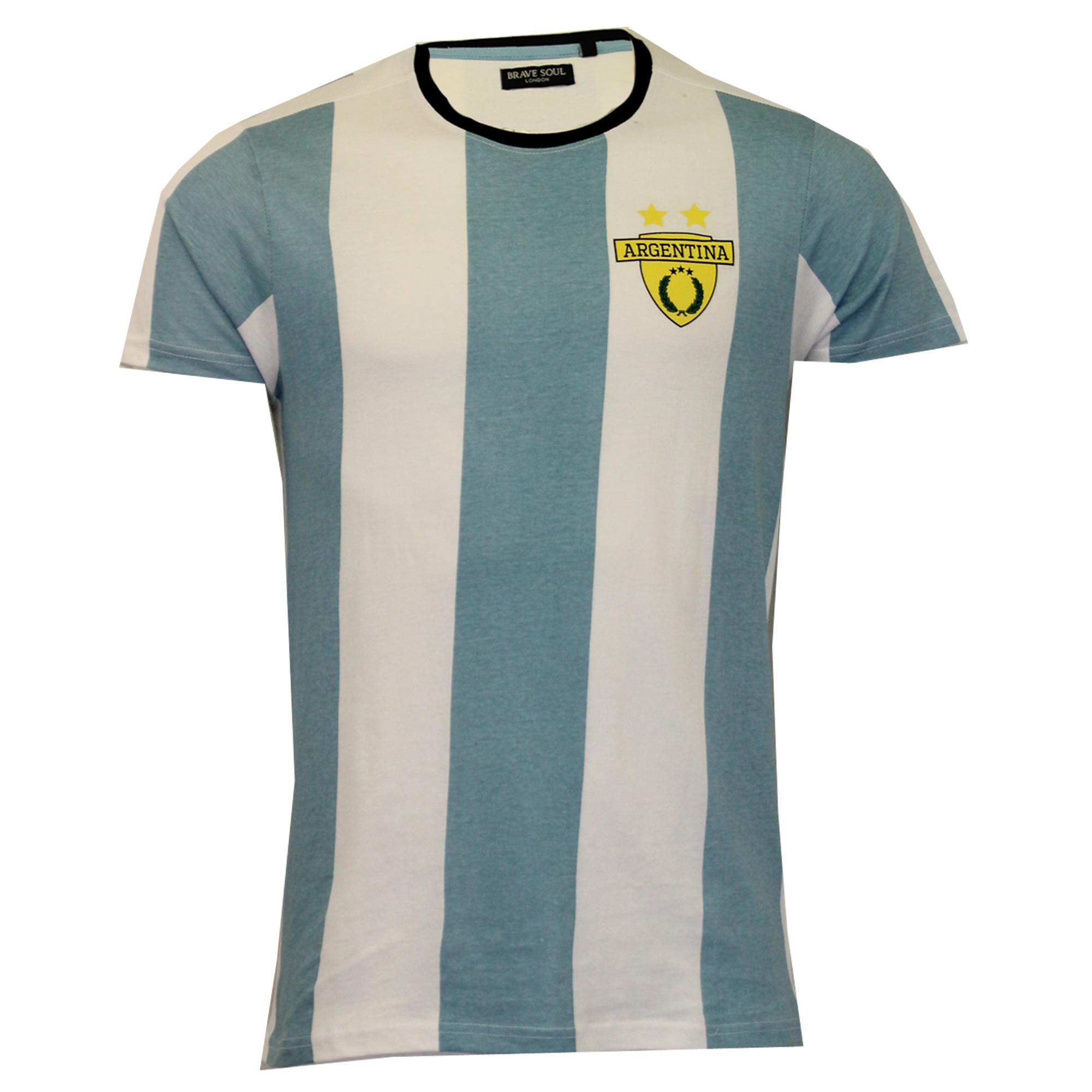 Mens-World-Cup-T-Shirt-Brave-Soul-England-Brazil-France-Argentina-Football-Print thumbnail 4