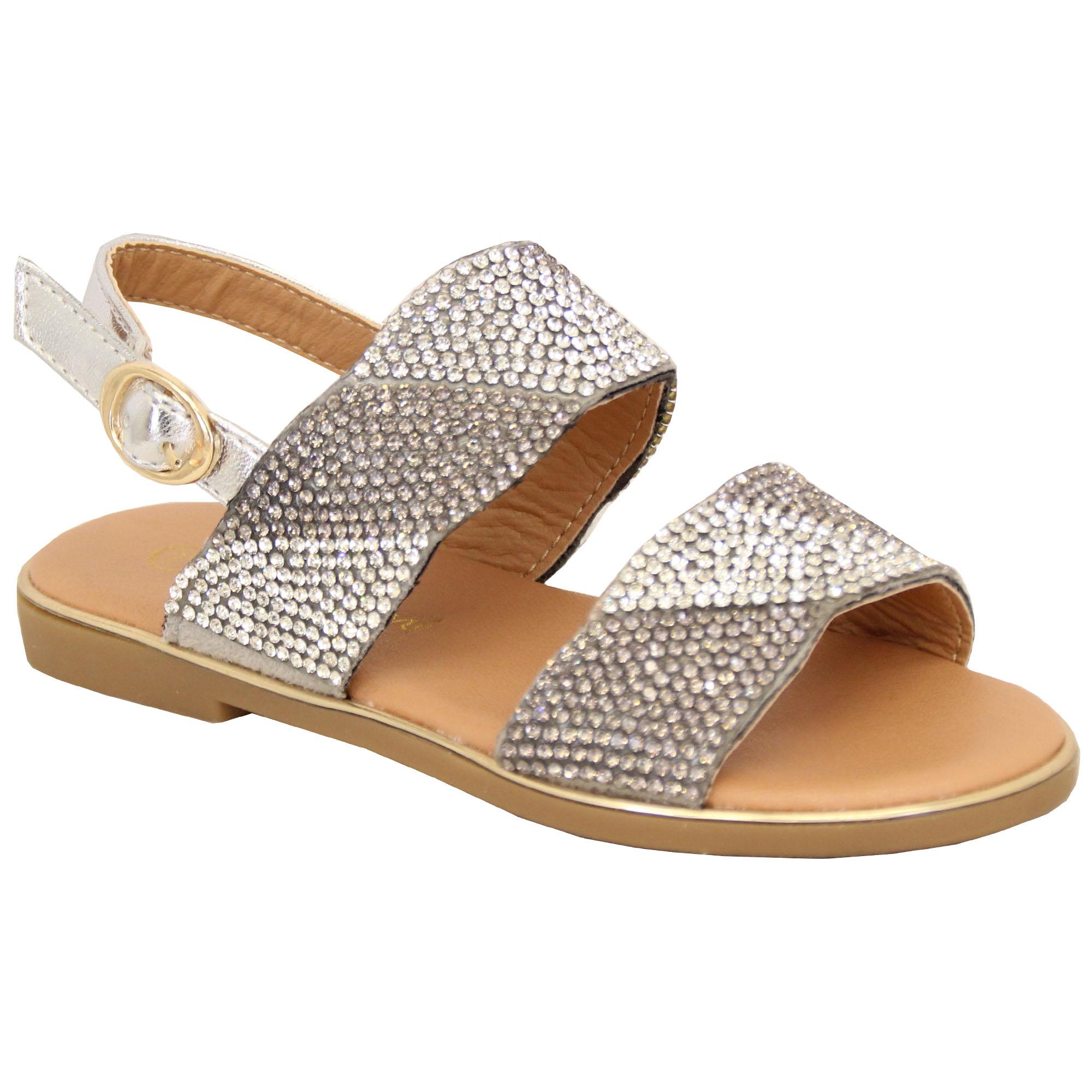 Girls Diamante Flat Sandals Kids Open