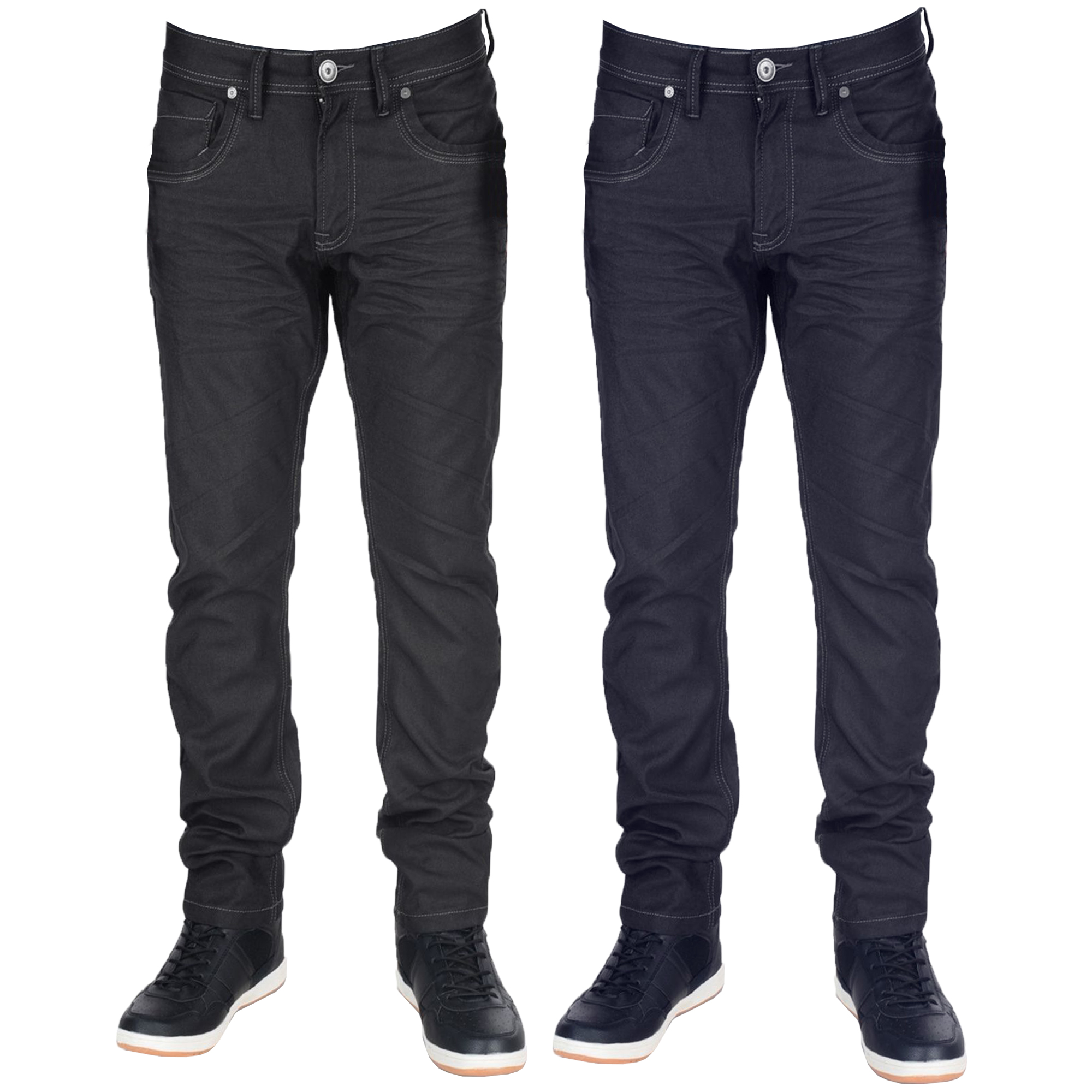 Mens-Crafted-Denim-Jeans-Crosshatch-Slim-Fit-Trousers-Menzo-Stretch-Pants-New thumbnail 4