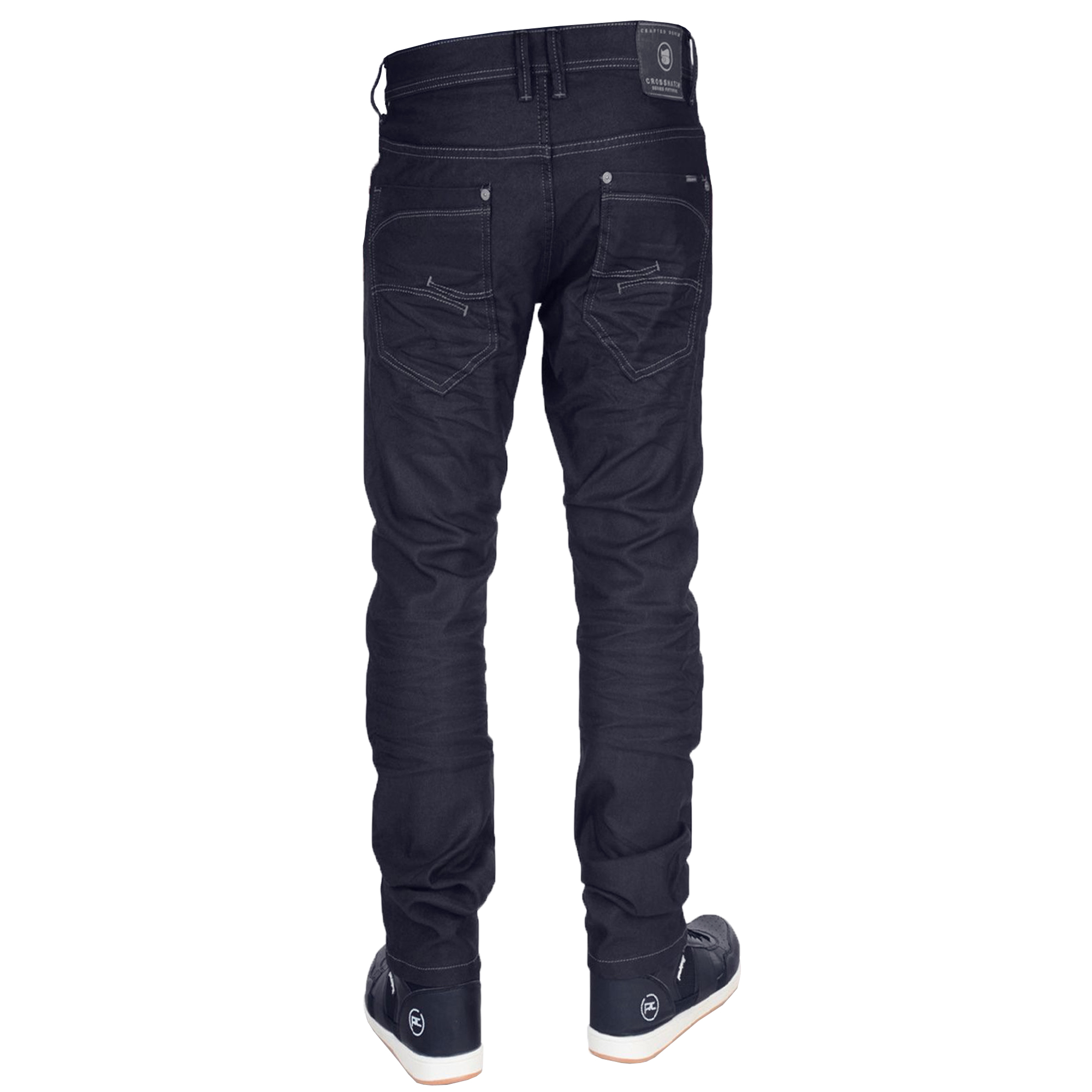 Mens-Crafted-Denim-Jeans-Crosshatch-Slim-Fit-Trousers-Menzo-Stretch-Pants-New thumbnail 6