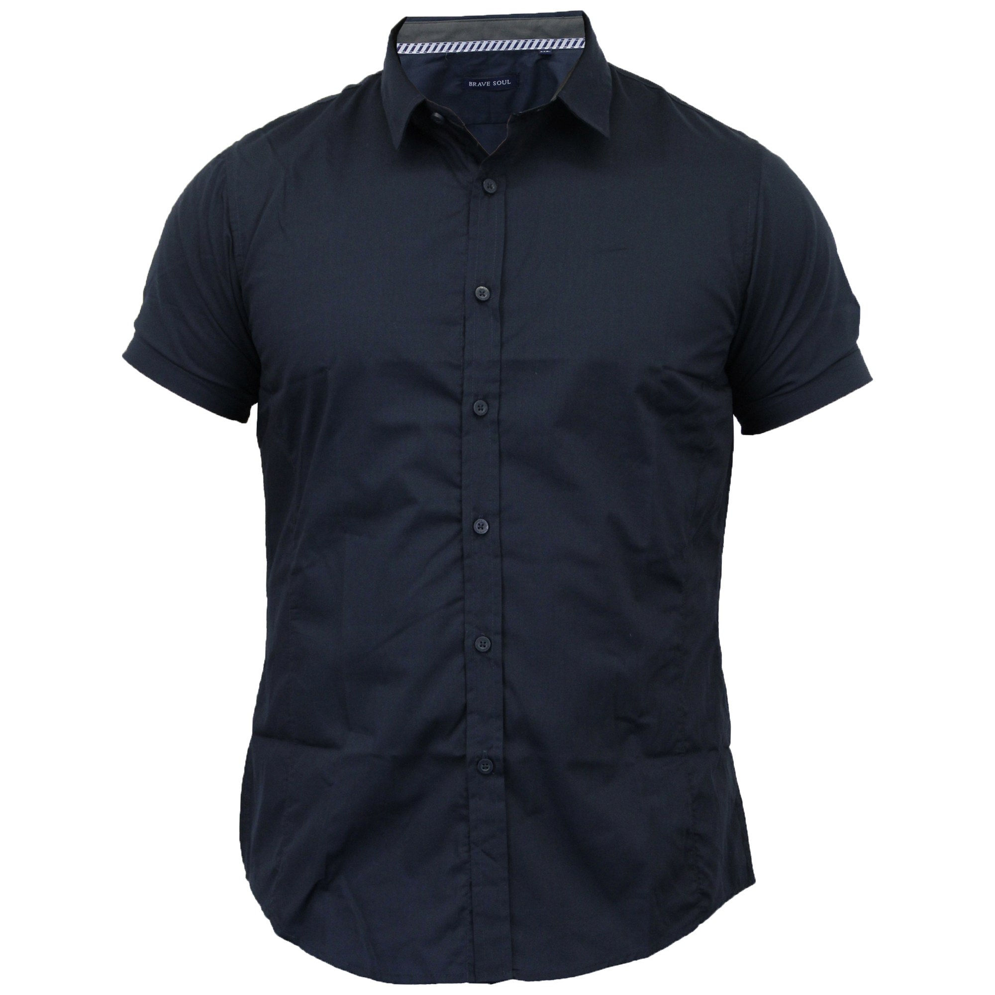 Mens-Shirts-Brave-Soul-Short-Sleeved-Slim-Fit-Mombassa-Plain-Collared-Summer-New thumbnail 10