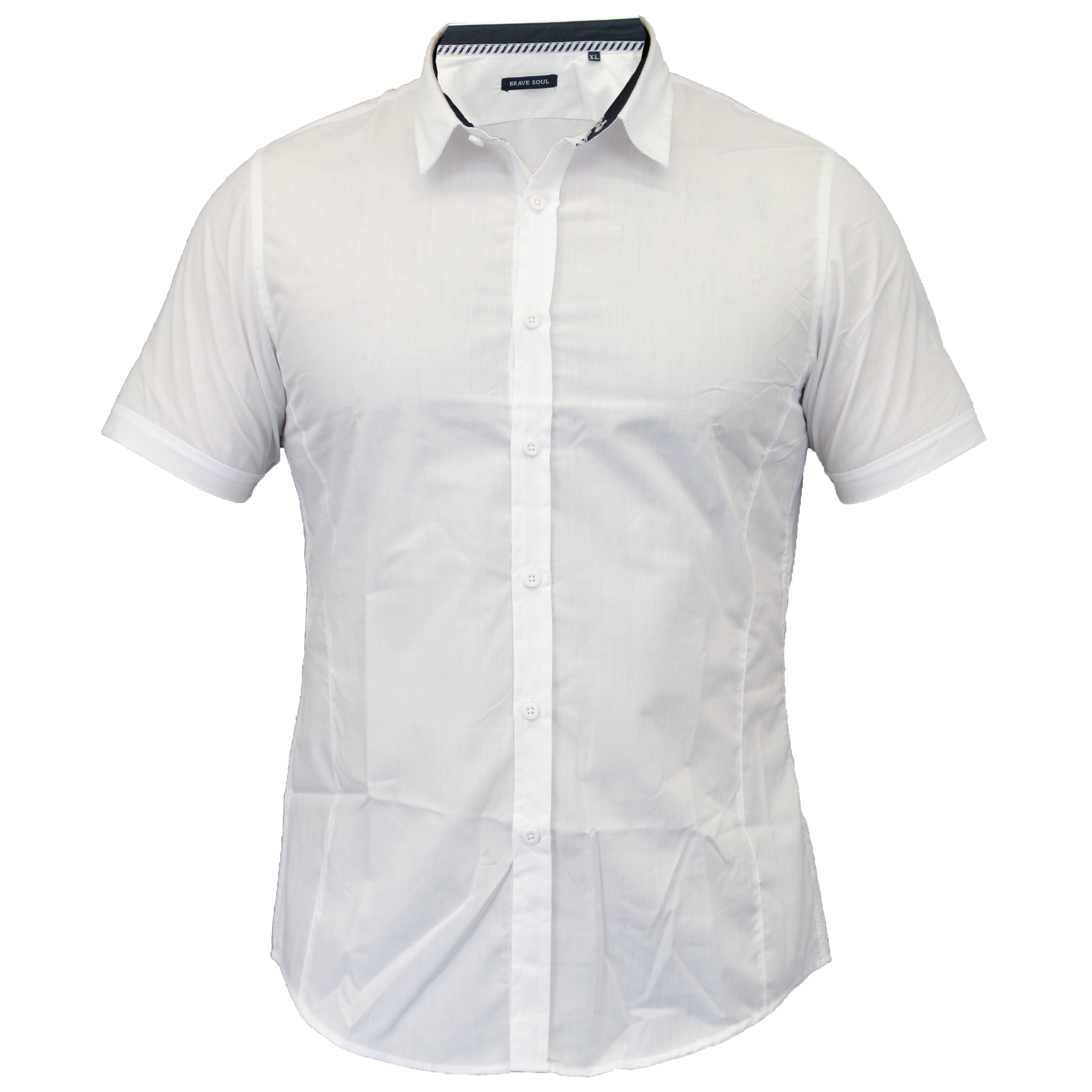 Mens-Shirts-Brave-Soul-Short-Sleeved-Slim-Fit-Mombassa-Plain-Collared-Summer-New thumbnail 16