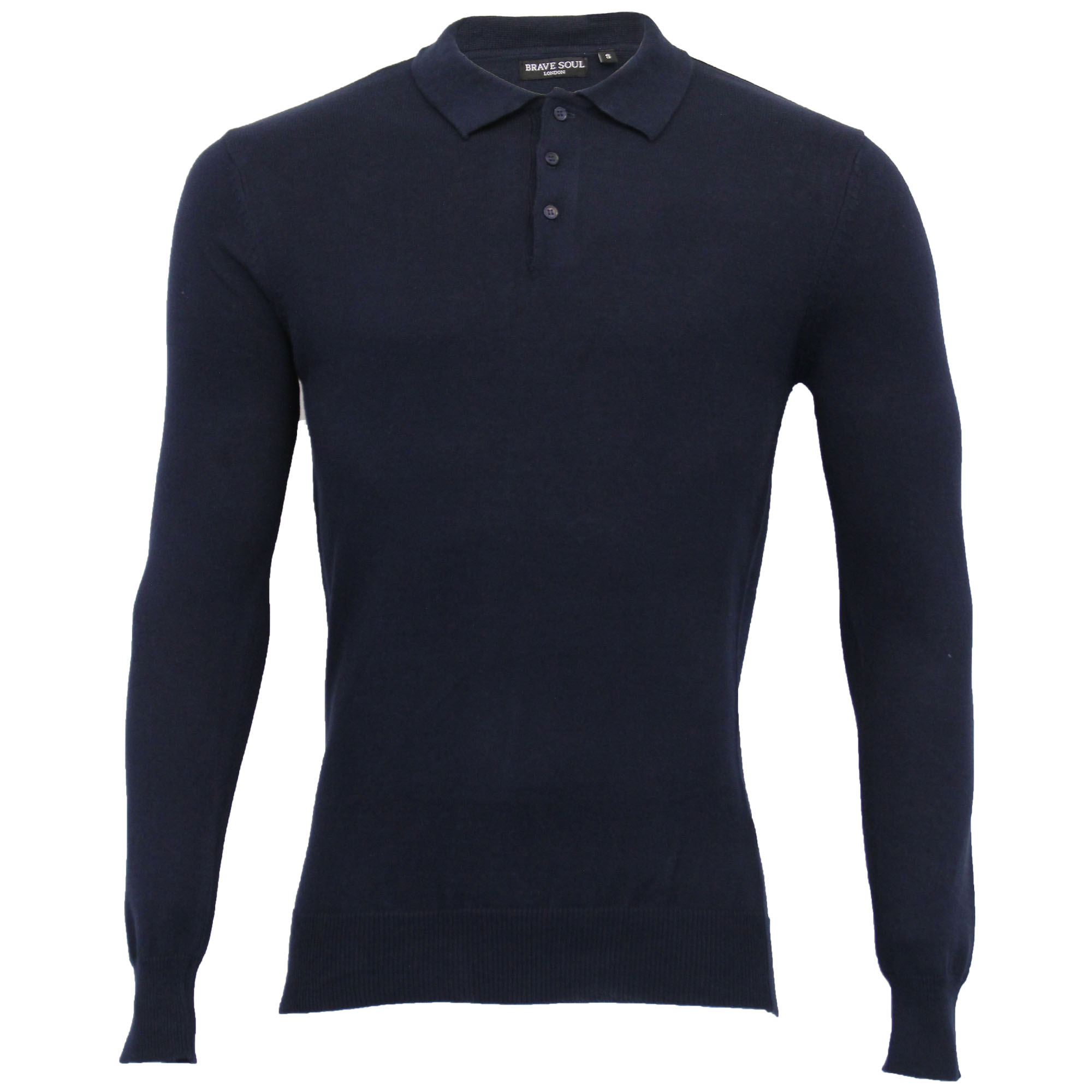 Mens-Knitted-Jumper-Brave-Soul-Polo-Top-Sweater-PLACKET-Pullover-Lightweight-New thumbnail 19