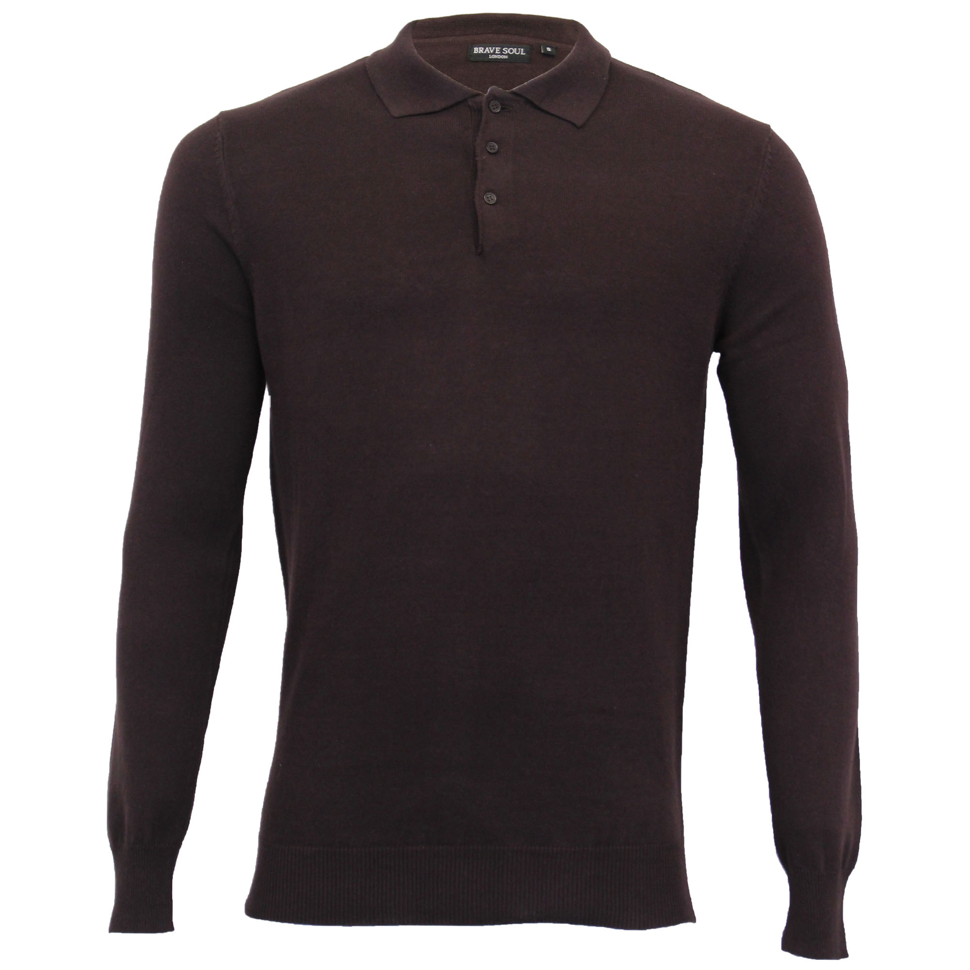Mens-Knitted-Jumper-Brave-Soul-Polo-Top-Sweater-PLACKET-Pullover-Lightweight-New thumbnail 2
