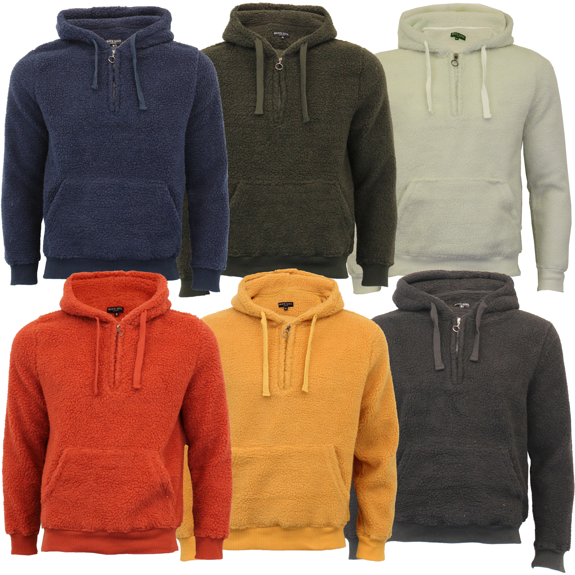 Mens-Borg-Sherpa-Fleece-Sweatshirt-Brave-Soul-DAIM-Over-The-Head-Hooded-Top-Warm thumbnail 4