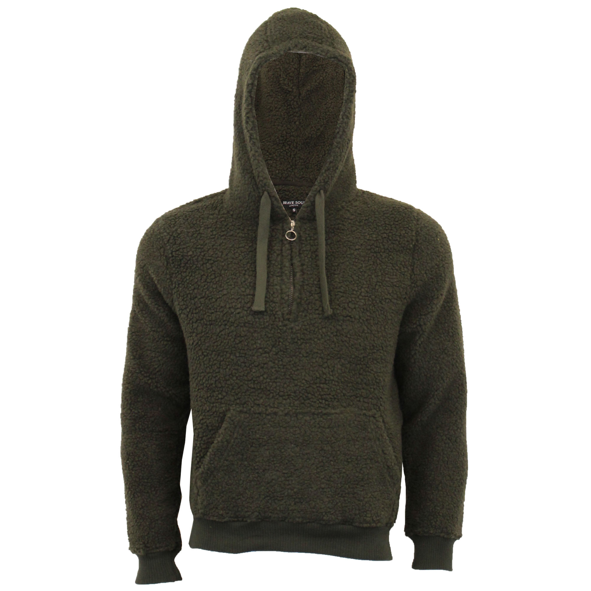 Mens-Borg-Sherpa-Fleece-Sweatshirt-Brave-Soul-DAIM-Over-The-Head-Hooded-Top-Warm thumbnail 6
