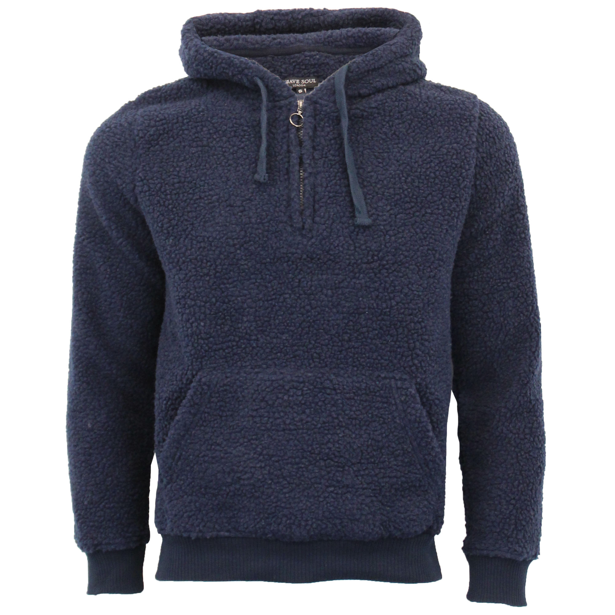 Mens-Borg-Sherpa-Fleece-Sweatshirt-Brave-Soul-DAIM-Over-The-Head-Hooded-Top-Warm thumbnail 9