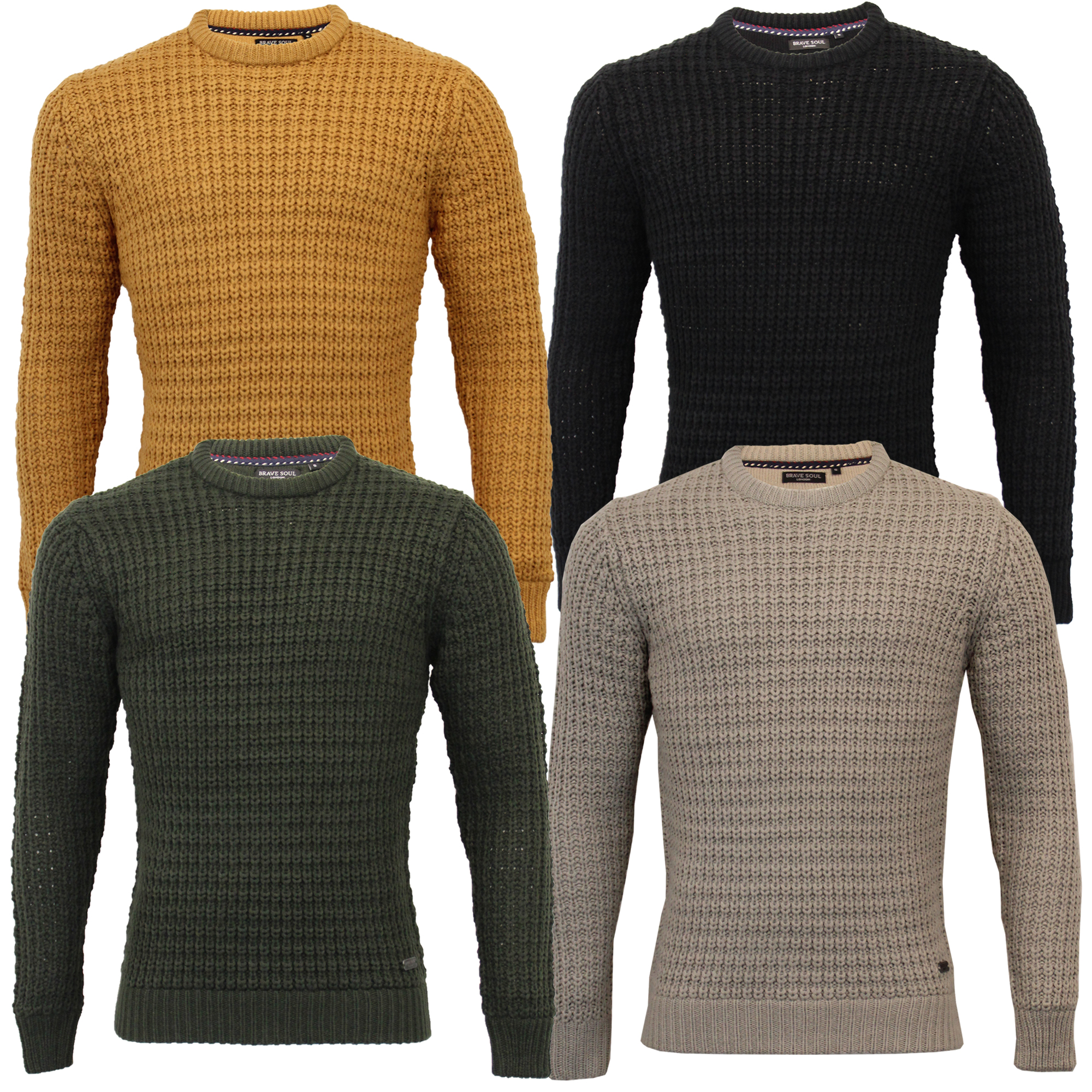 Mens-Cable-Knitted-Jumper-Brave-Soul-DIRAC-Crew-Neck-Pullover-Top-Winter-Fashion thumbnail 4