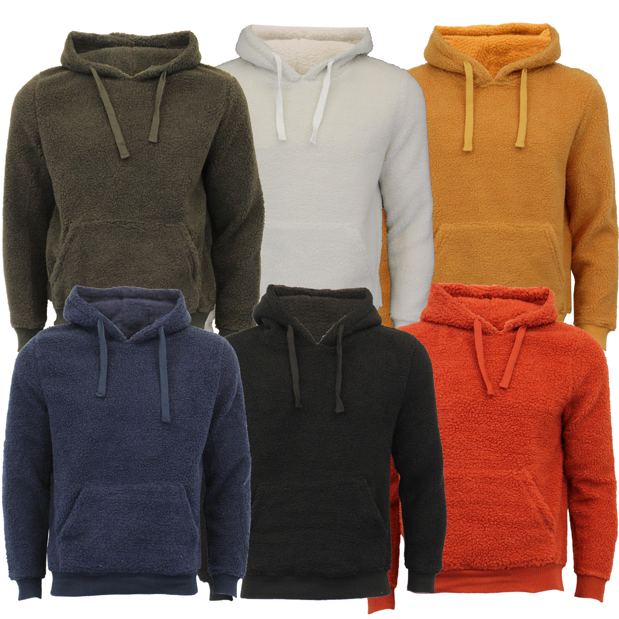 Mens-Sherpa-Fleece-Borg-Sweatshirt-Brave-Soul-Over-The-Head-GROMIT-Hooded-Top thumbnail 5