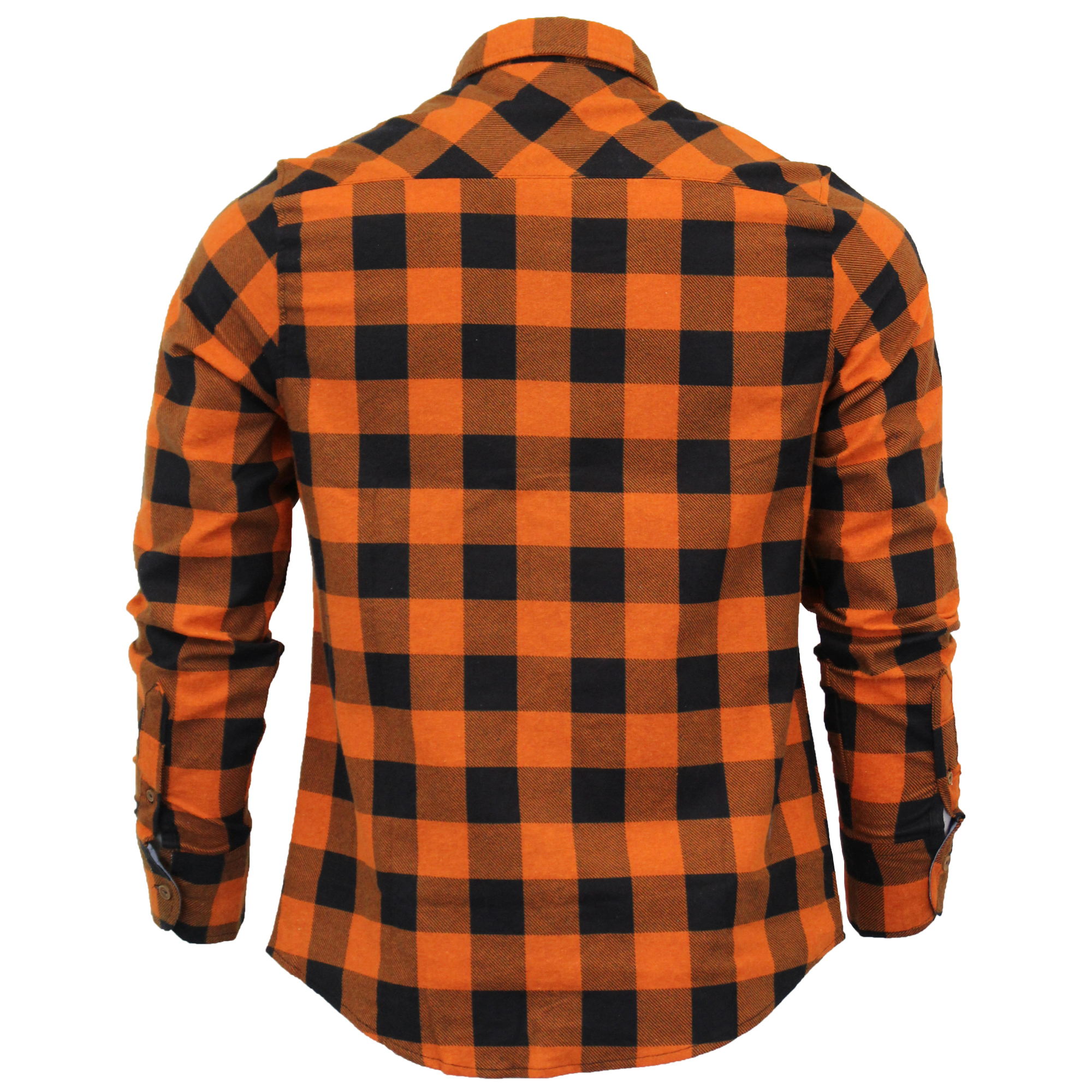 Mens-Checked-Tartan-Long-Sleeved-Collared-Shirt-By-Brave-Soul miniatuur 15