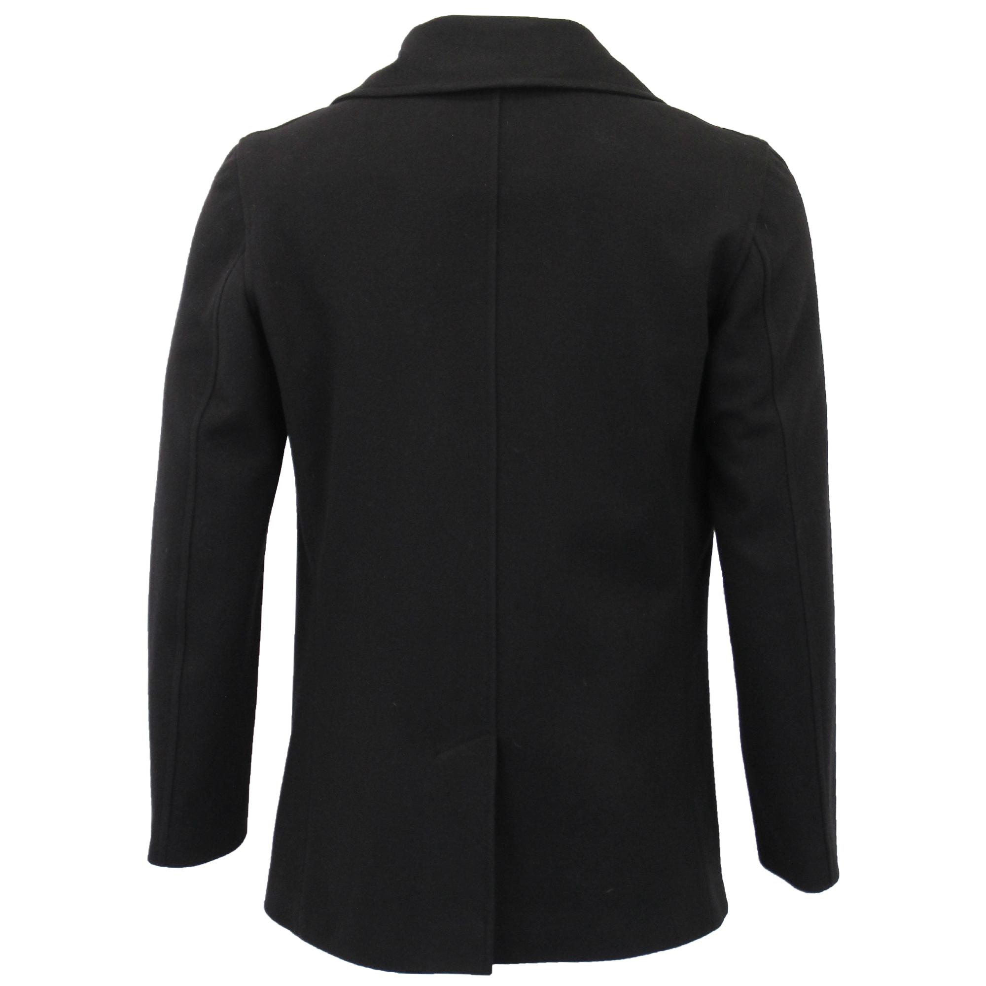 da in foderato colletto petto doppio Bottone Casual Giacca Pcoat con Inverno Nero lana uomo Trench wEndxf4q