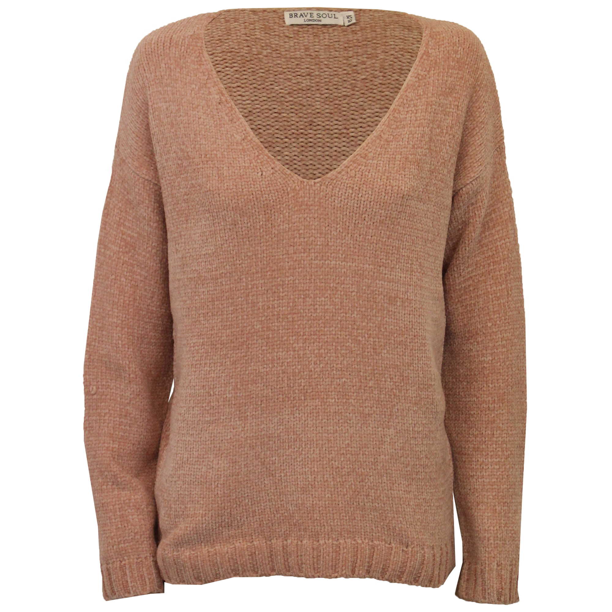 0b14af19c Ladies Chenille Jumper Brave Soul Womens Knitted TOTTY Deep V Neck ...