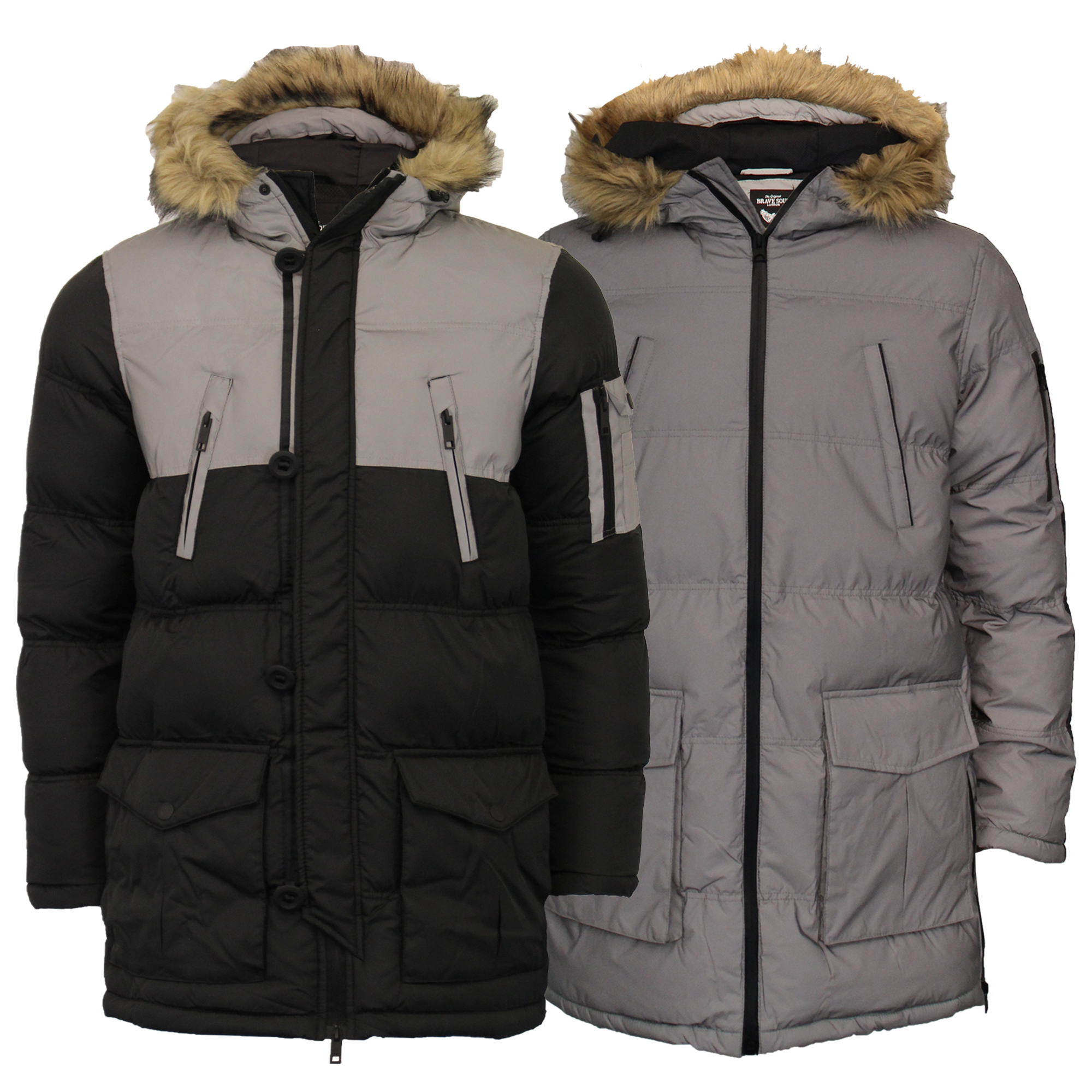 Mens-Reflective-Long-Bubble-Parka-Jacket-Brave-Soul-Coat-Hooded-Padded-Winter thumbnail 6
