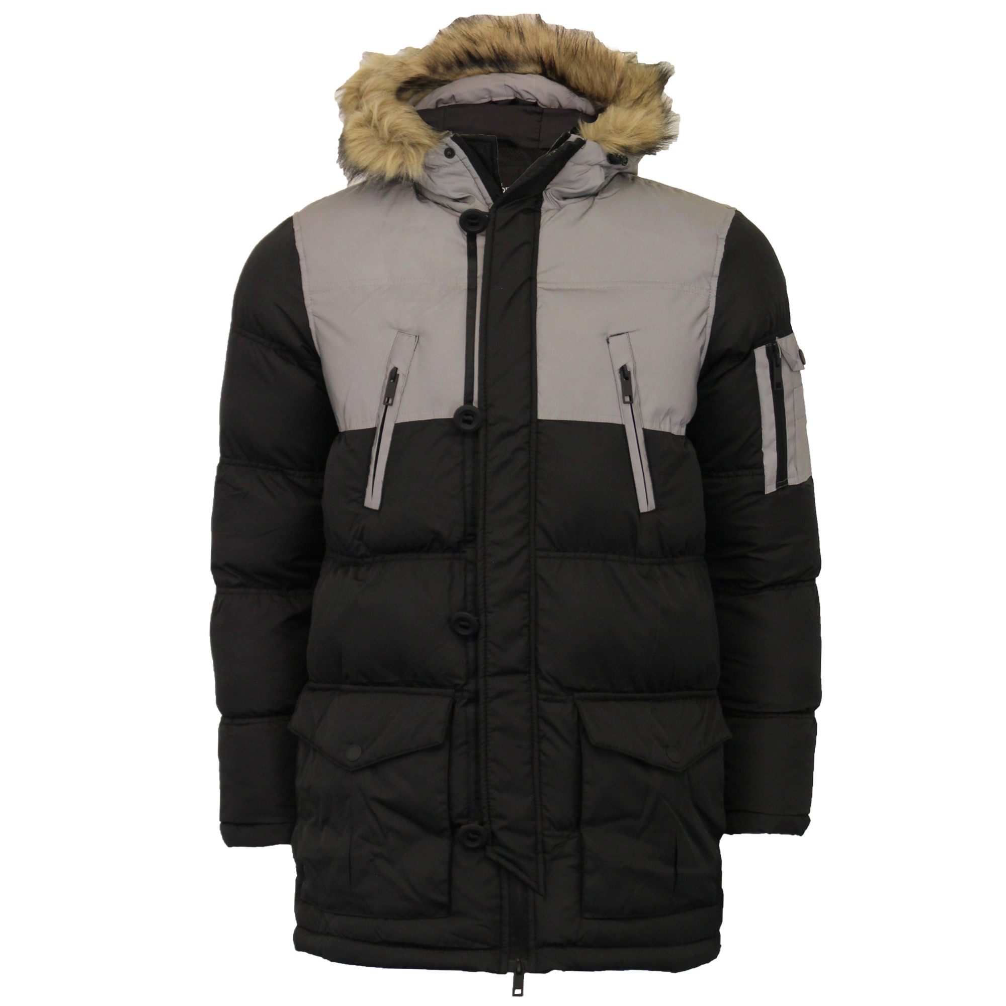 Mens-Reflective-Long-Bubble-Parka-Jacket-Brave-Soul-Coat-Hooded-Padded-Winter thumbnail 2