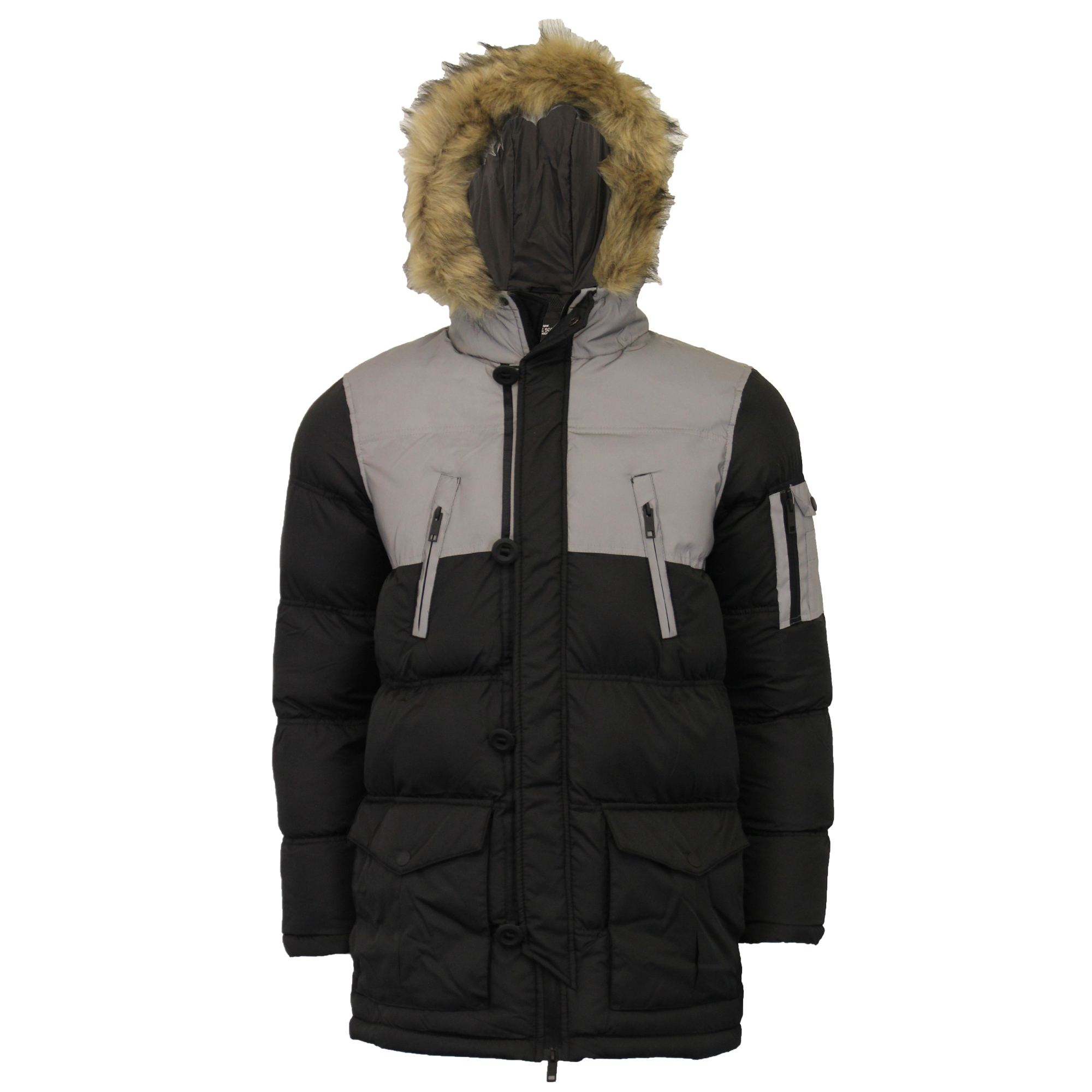 Mens-Reflective-Long-Bubble-Parka-Jacket-Brave-Soul-Coat-Hooded-Padded-Winter thumbnail 3