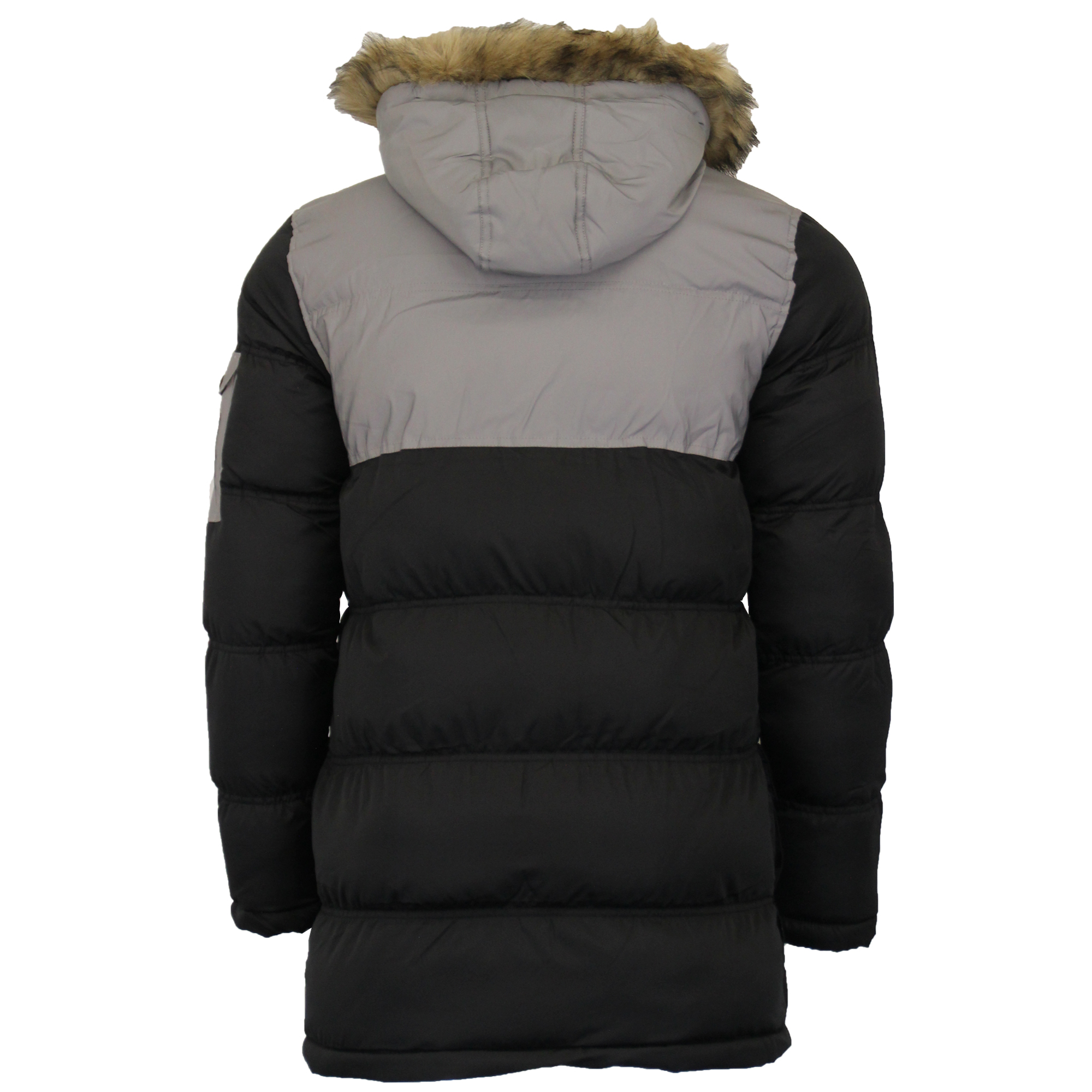 Mens-Reflective-Long-Bubble-Parka-Jacket-Brave-Soul-Coat-Hooded-Padded-Winter thumbnail 5
