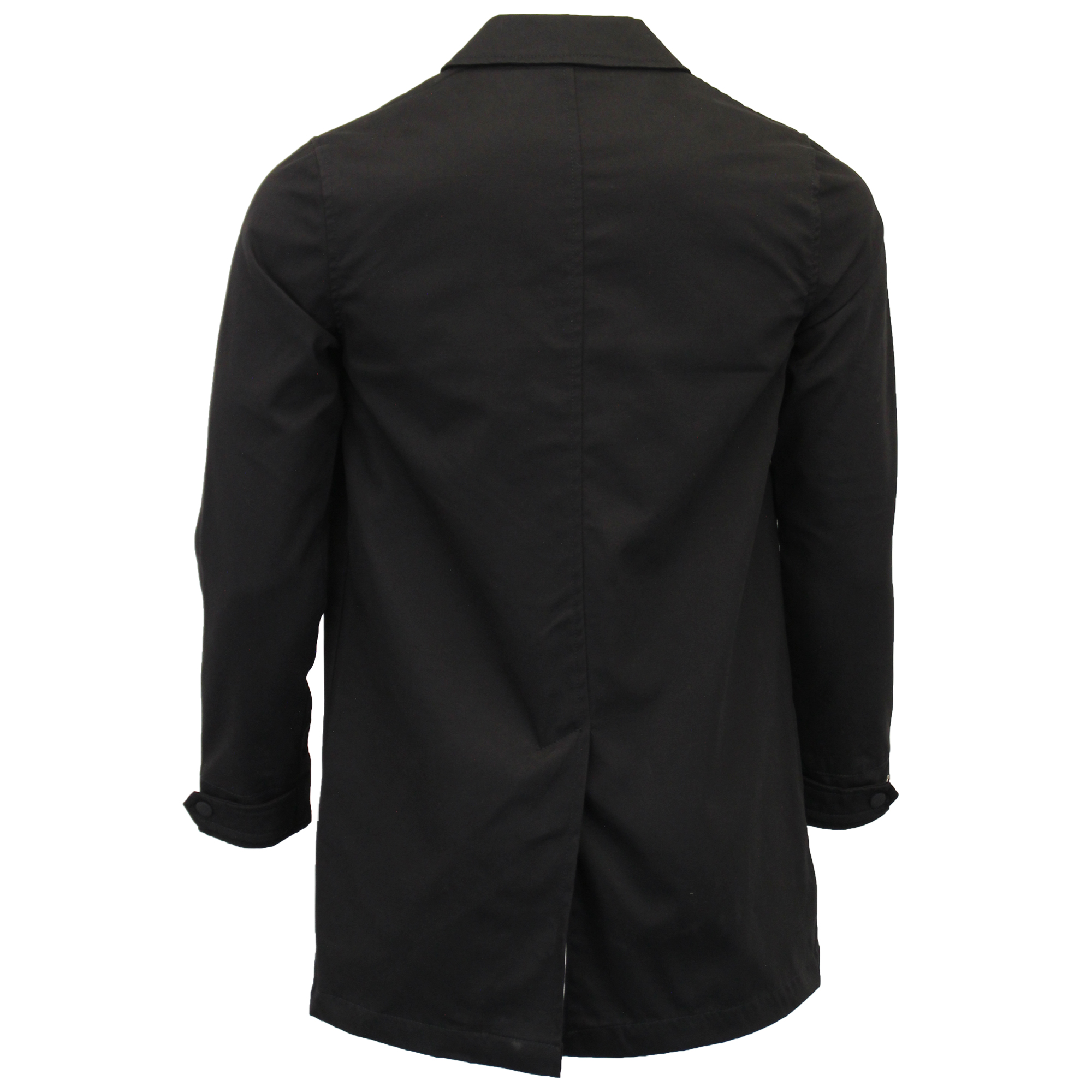 Mens Jacket Brave Soul Mac Trench Coat Process Black Collared Button ... f89775685eef