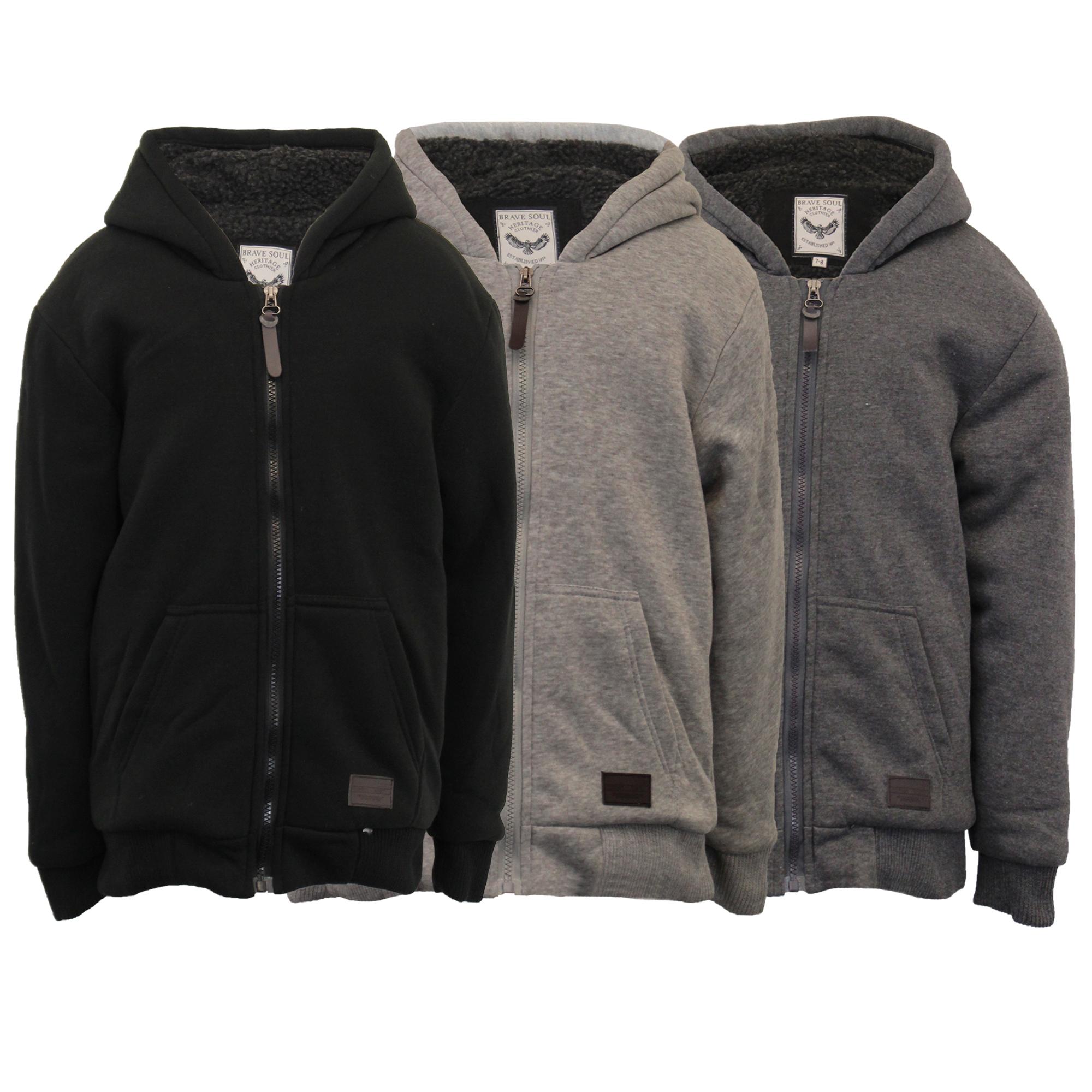 6064b7952 Boys Jacket Brave Soul Kids Sweat Coat Hoodie Top Sherpa Fleece ZONE ...
