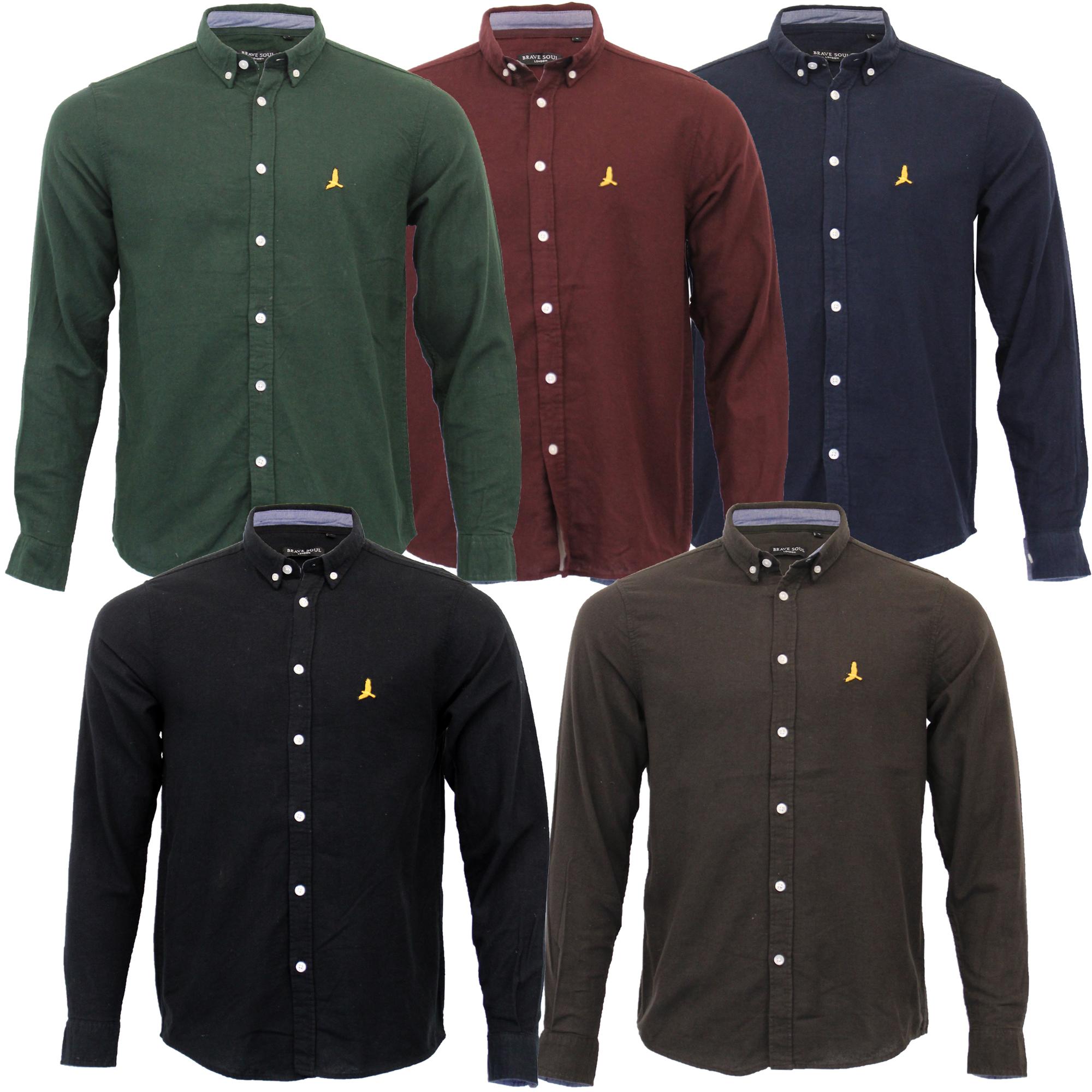 Mens Brushed Cotton Shirt Brave Soul Long Sleeved Flannel Holmes