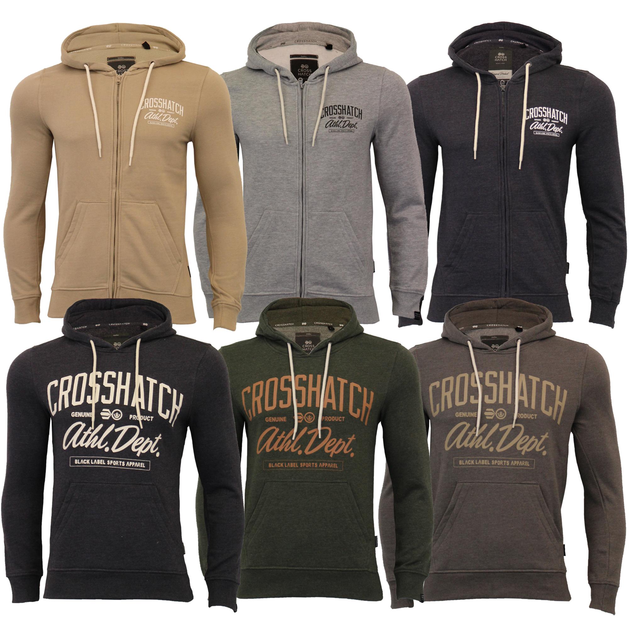 Mens-Sweatshirt-Crosshatch-Over-The-Head-Hoodie-Printed-Zip-Pullover-Top-Fleece thumbnail 5