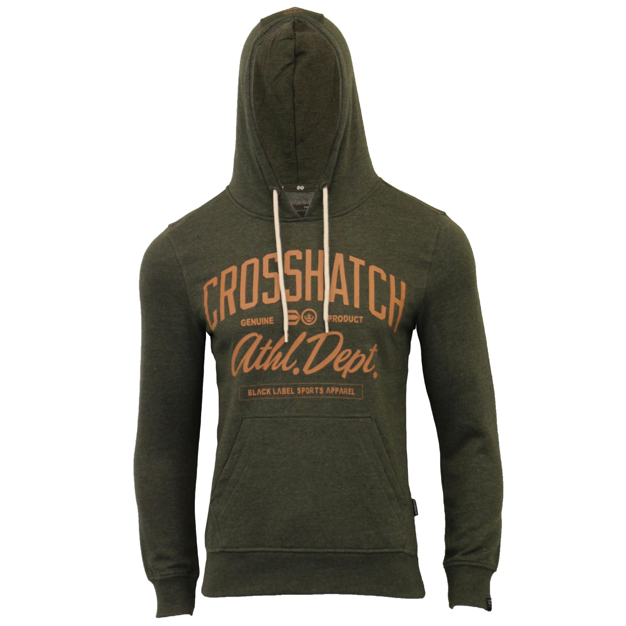 Mens-Sweatshirt-Crosshatch-Over-The-Head-Hoodie-Printed-Zip-Pullover-Top-Fleece thumbnail 7