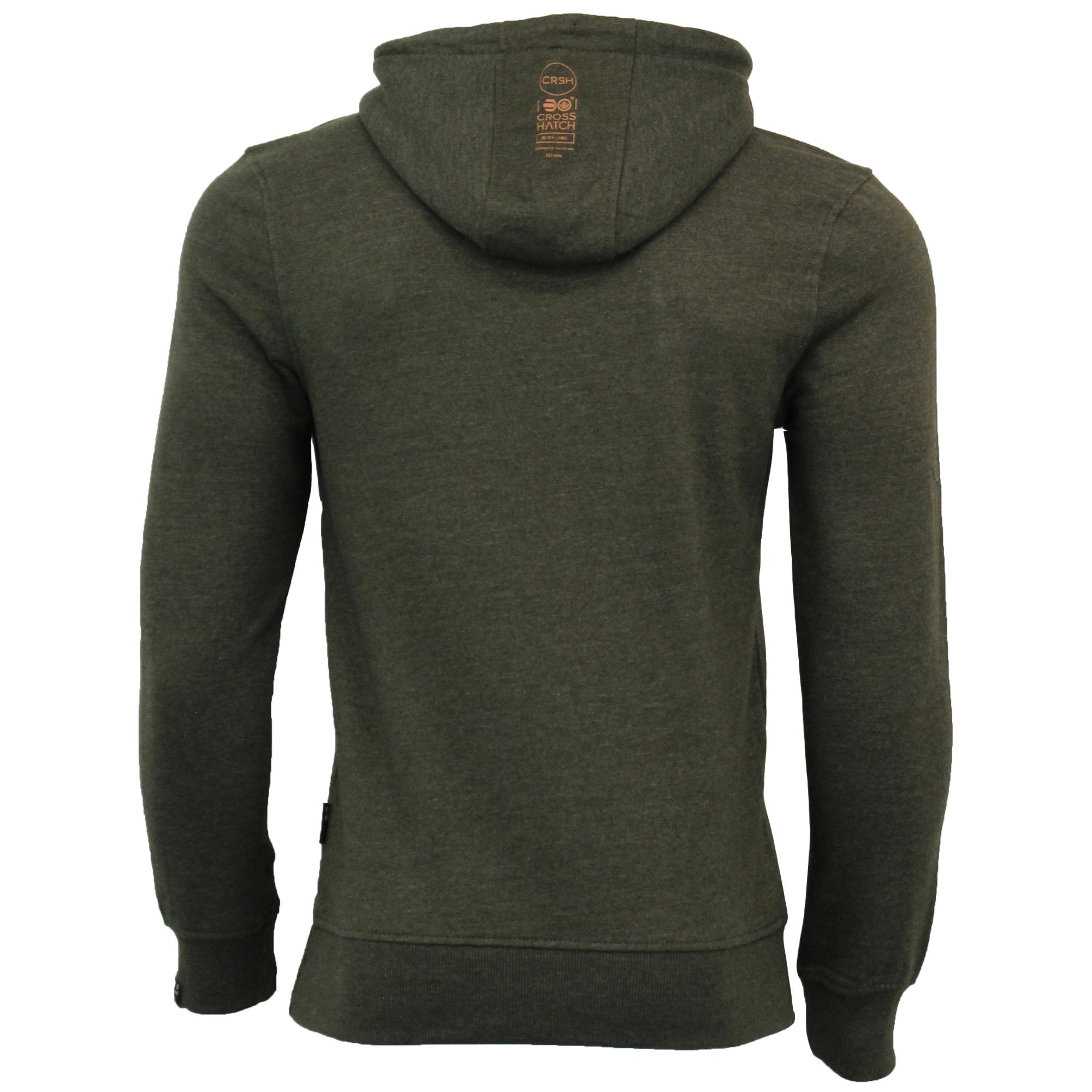 Mens-Sweatshirt-Crosshatch-Over-The-Head-Hoodie-Printed-Zip-Pullover-Top-Fleece thumbnail 8