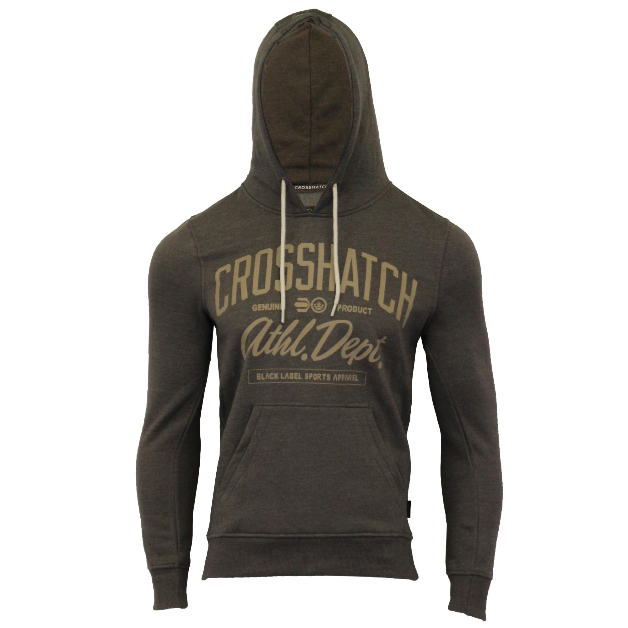 Mens-Sweatshirt-Crosshatch-Over-The-Head-Hoodie-Printed-Zip-Pullover-Top-Fleece thumbnail 3