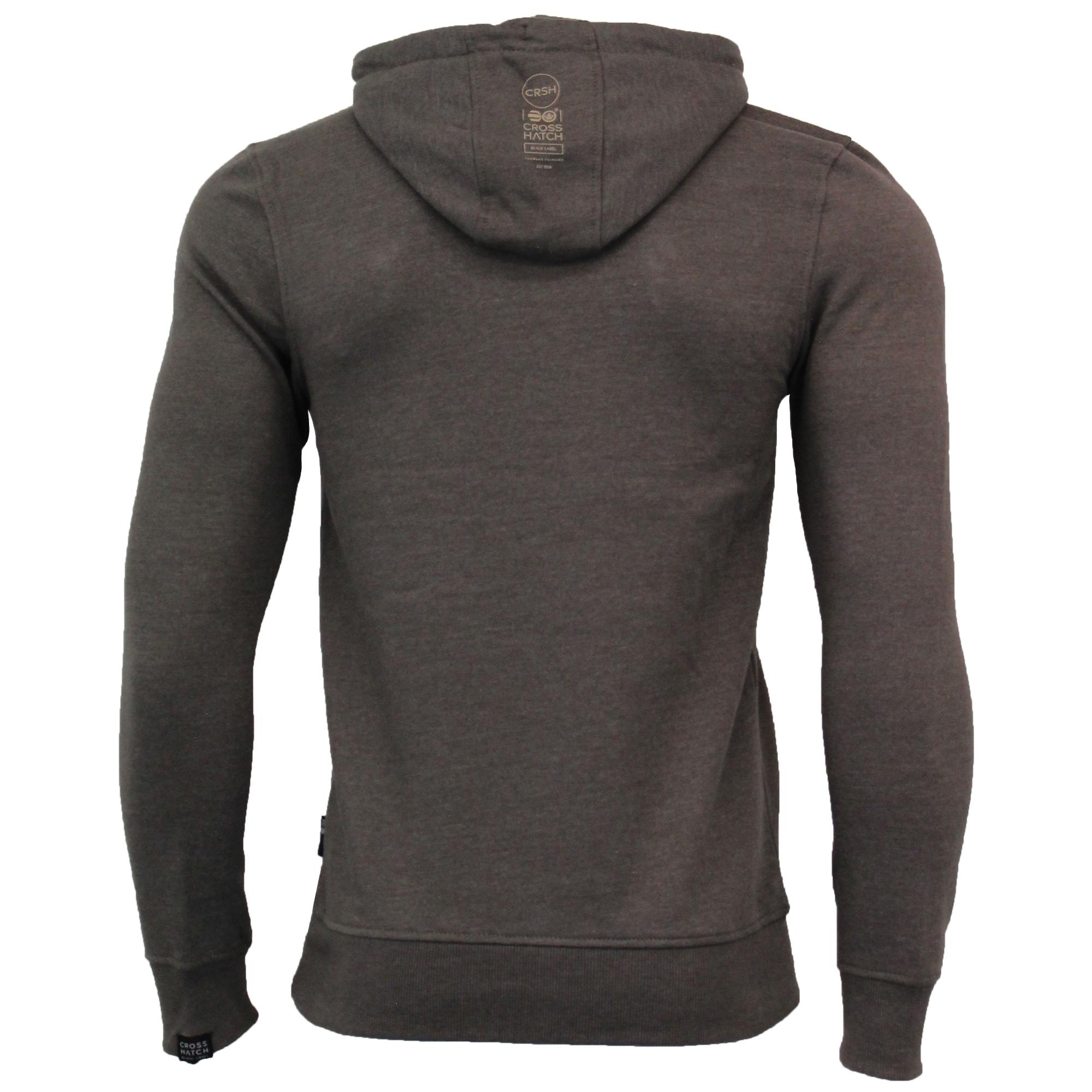 Mens-Sweatshirt-Crosshatch-Over-The-Head-Hoodie-Printed-Zip-Pullover-Top-Fleece thumbnail 4