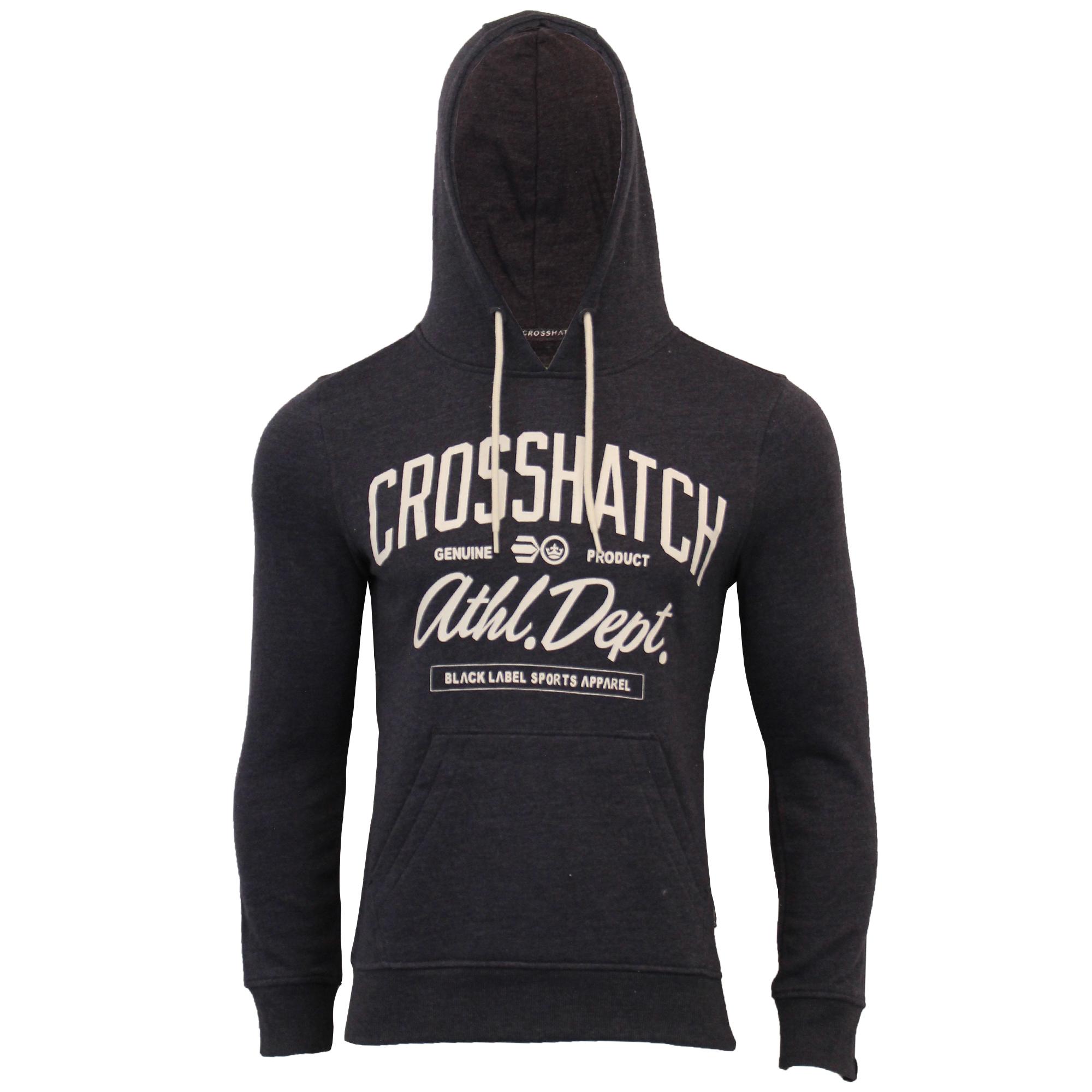 Mens-Sweatshirt-Crosshatch-Over-The-Head-Hoodie-Printed-Zip-Pullover-Top-Fleece thumbnail 15