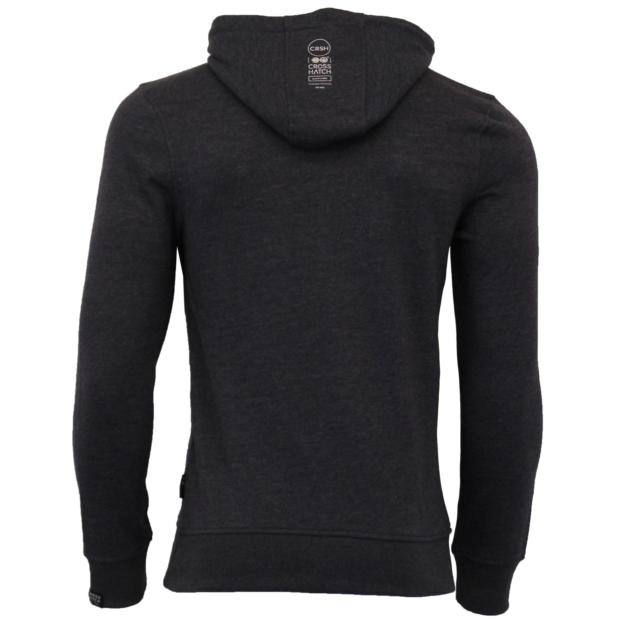 Mens-Sweatshirt-Crosshatch-Over-The-Head-Hoodie-Printed-Zip-Pullover-Top-Fleece thumbnail 16