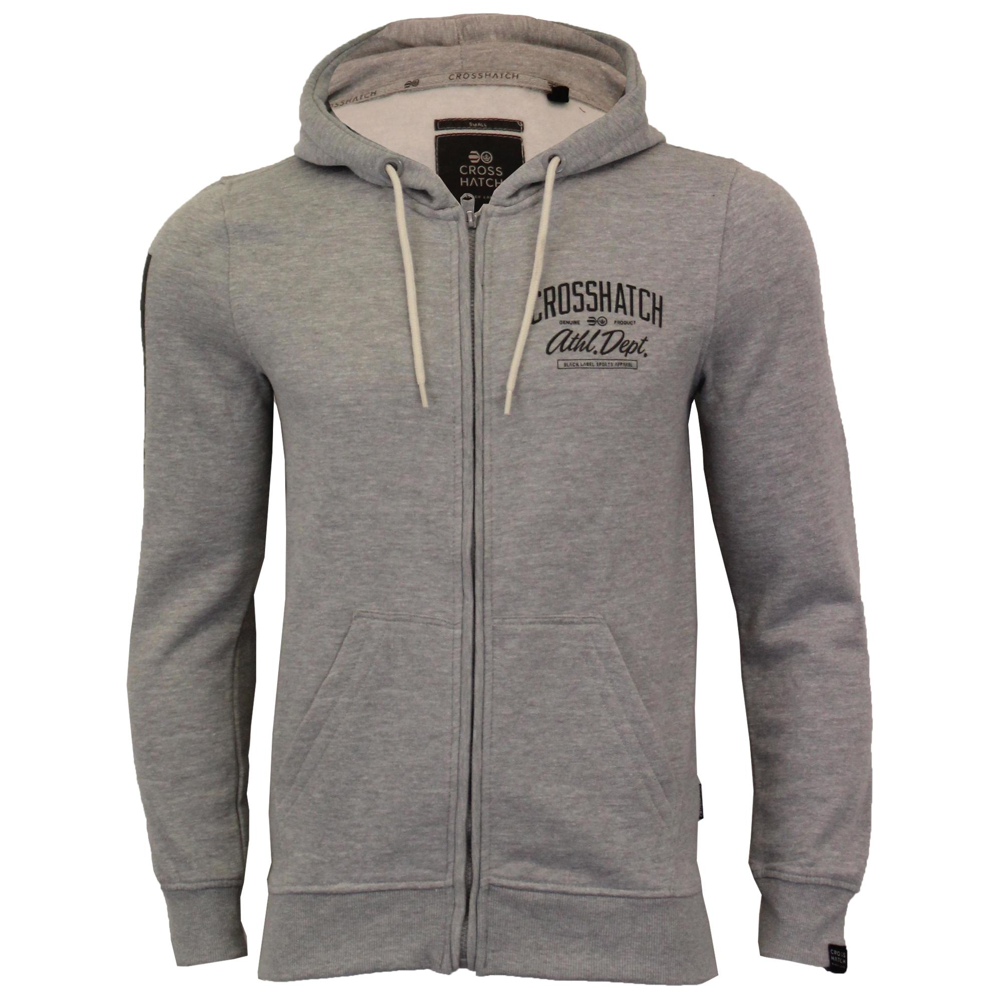 Mens-Sweatshirt-Crosshatch-Over-The-Head-Hoodie-Printed-Zip-Pullover-Top-Fleece thumbnail 10