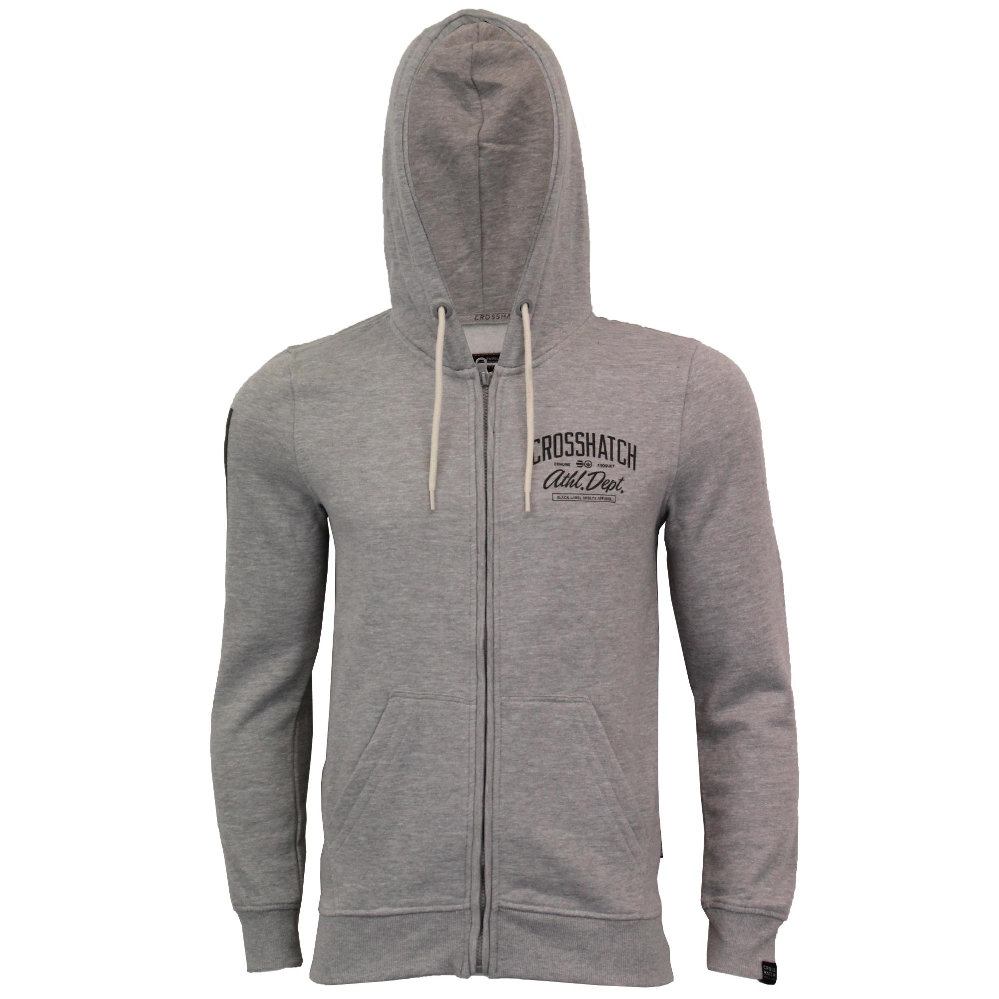 Mens-Sweatshirt-Crosshatch-Over-The-Head-Hoodie-Printed-Zip-Pullover-Top-Fleece thumbnail 11